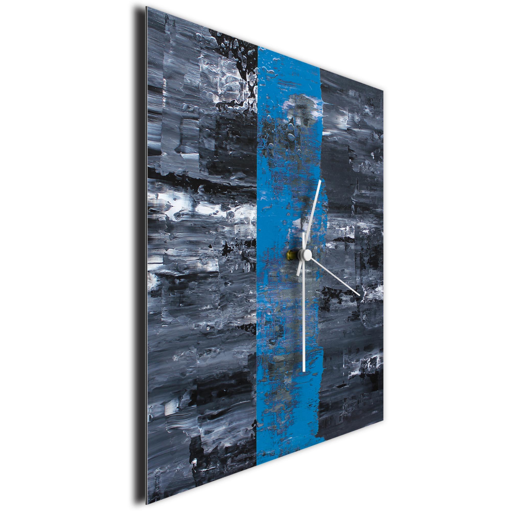 Blue Line Square Clock Large by Mendo Vasilevski - Urban Abstract Home Decor - Image 3