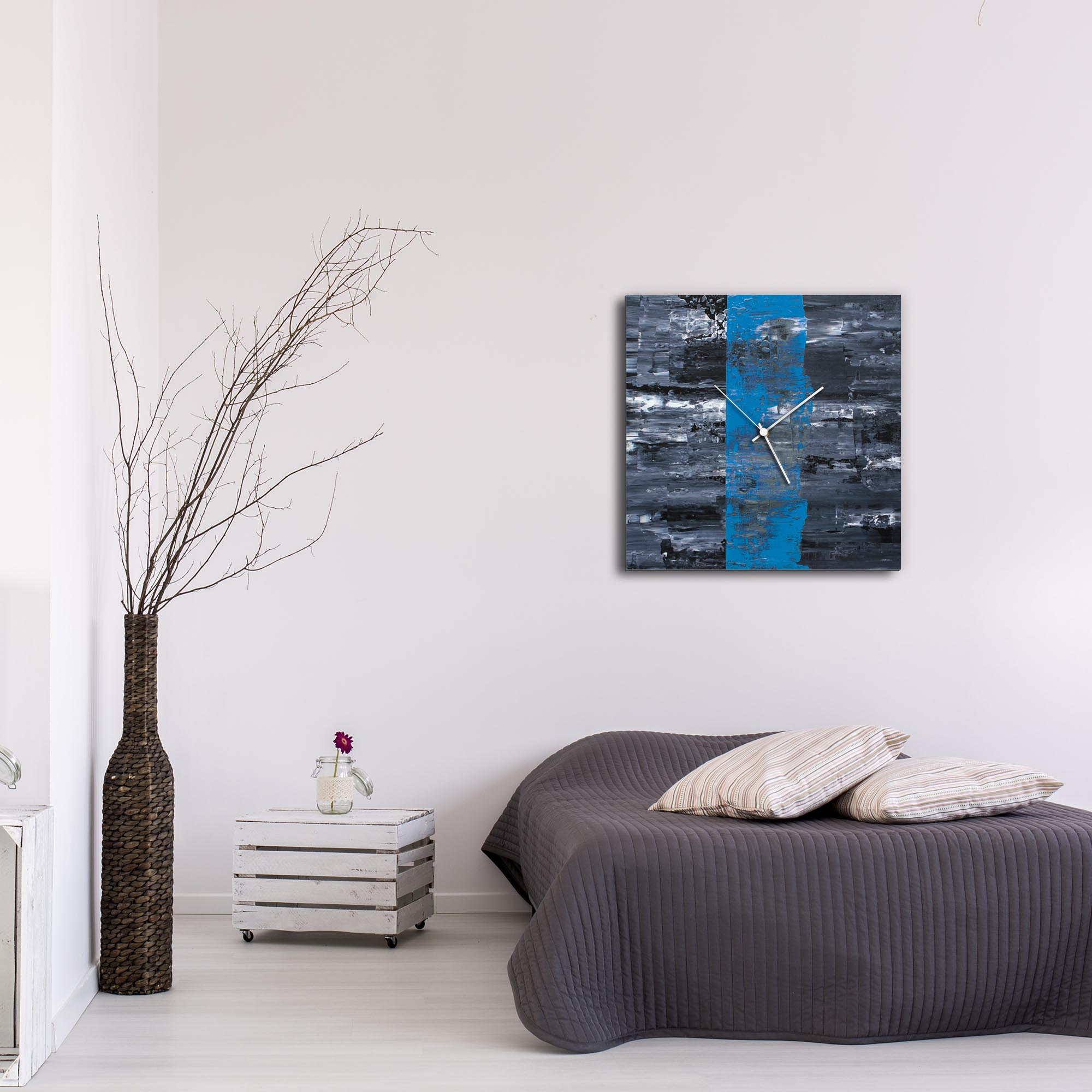 Blue Line Square Clock Large by Mendo Vasilevski - Urban Abstract Home Decor - Lifestyle View
