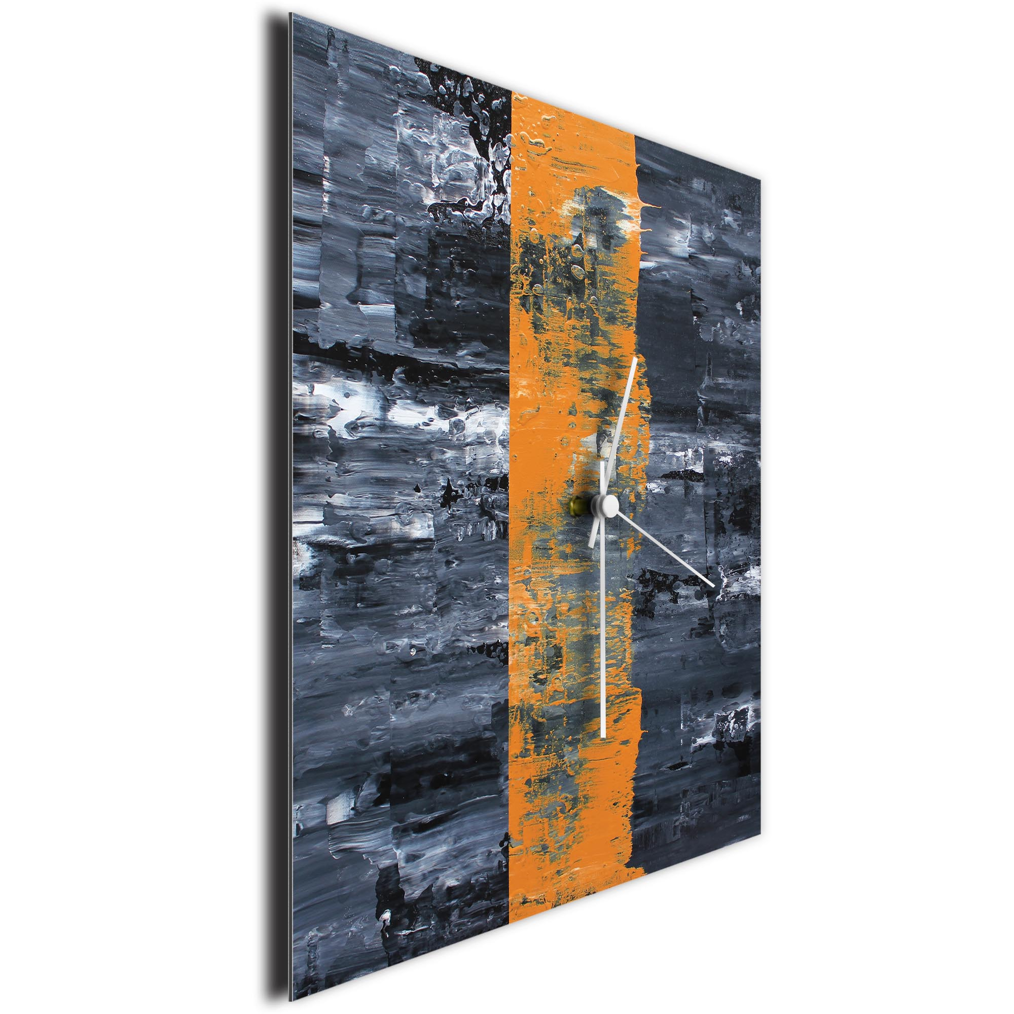 Orange Line Square Clock by Mendo Vasilevski - Urban Abstract Home Decor - Image 3