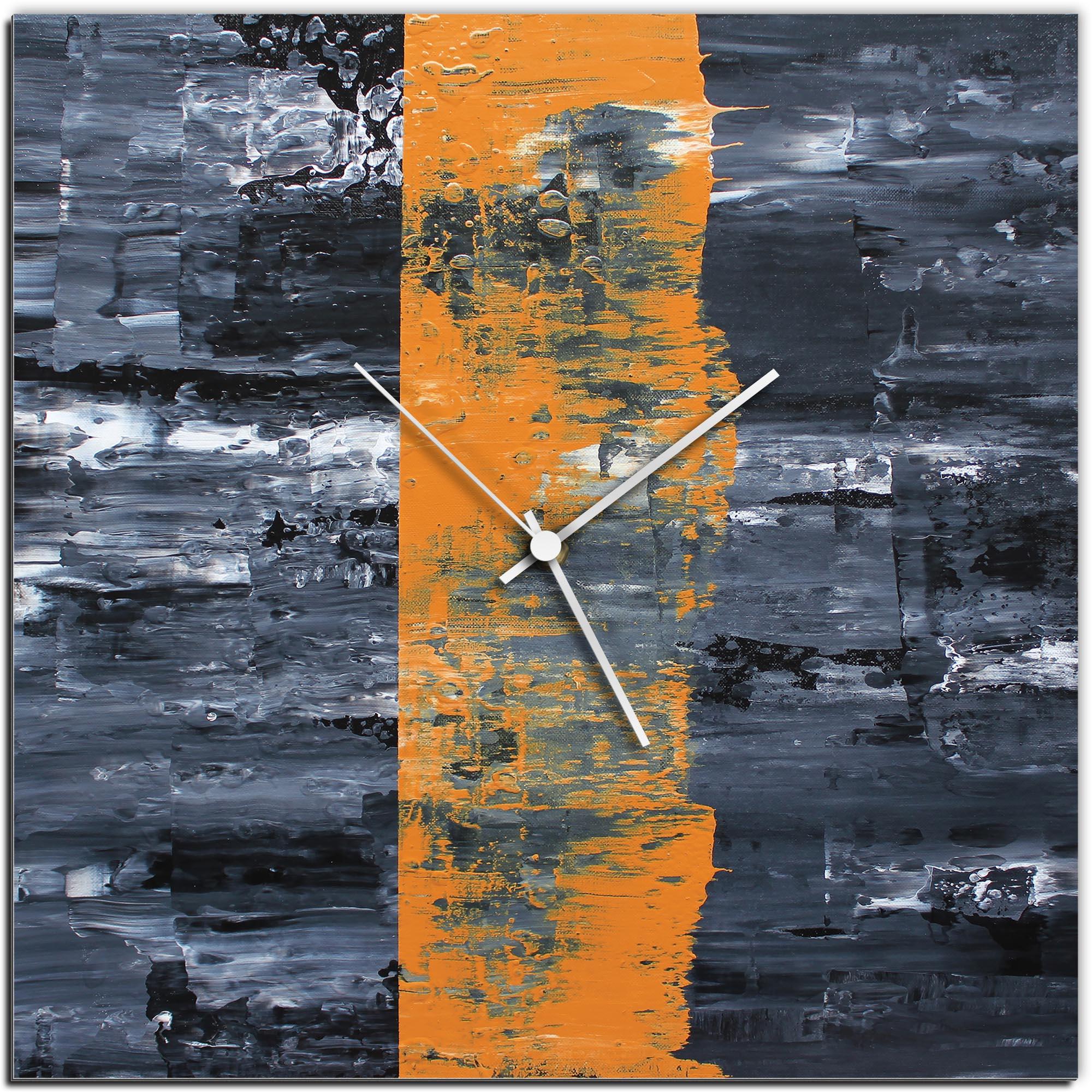 Mendo Vasilevski 'Orange Line Square Clock' 16in x 16in Modern Wall Clock on Aluminum Composite