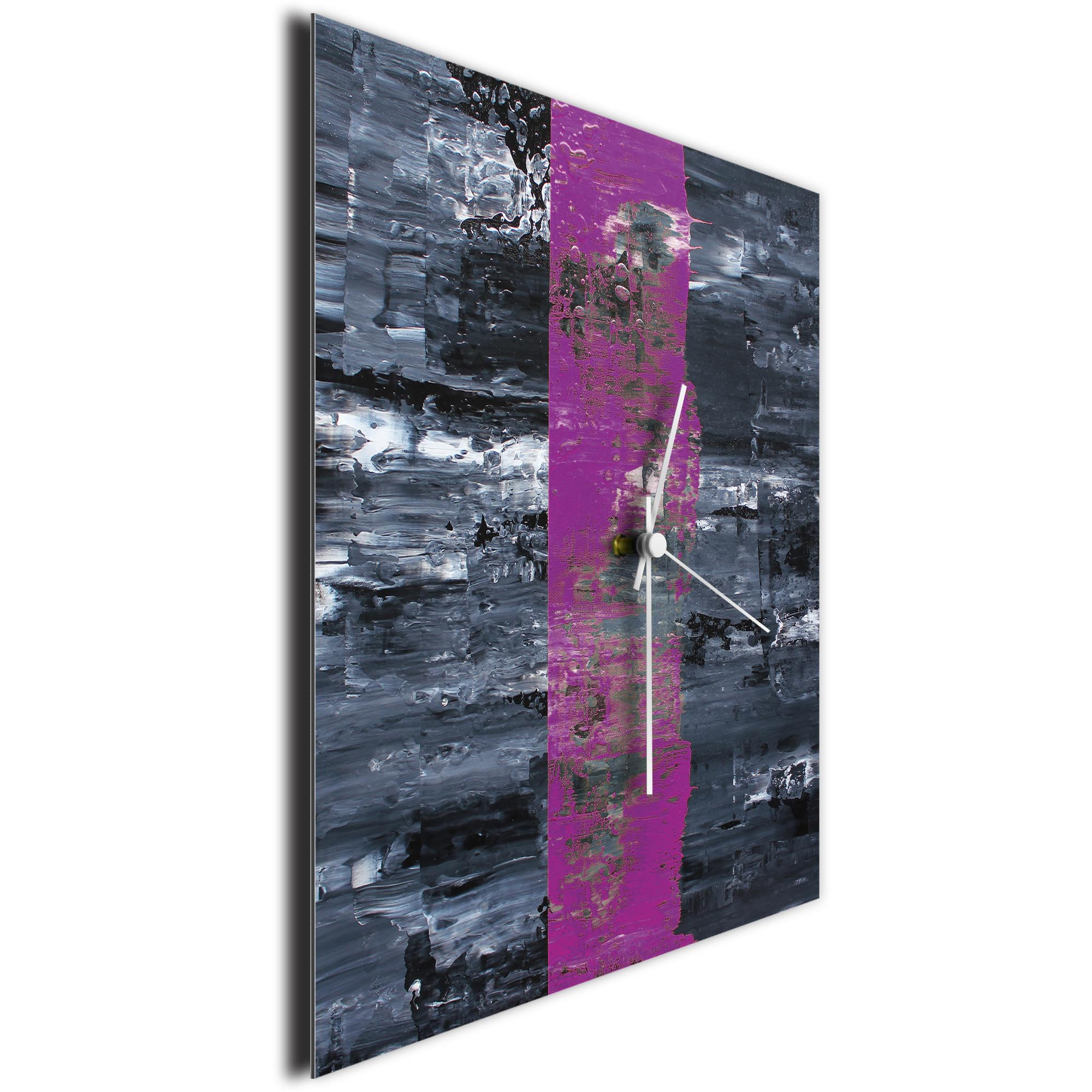 Purple Line Square Clock by Mendo Vasilevski - Urban Abstract Home Decor - Image 3