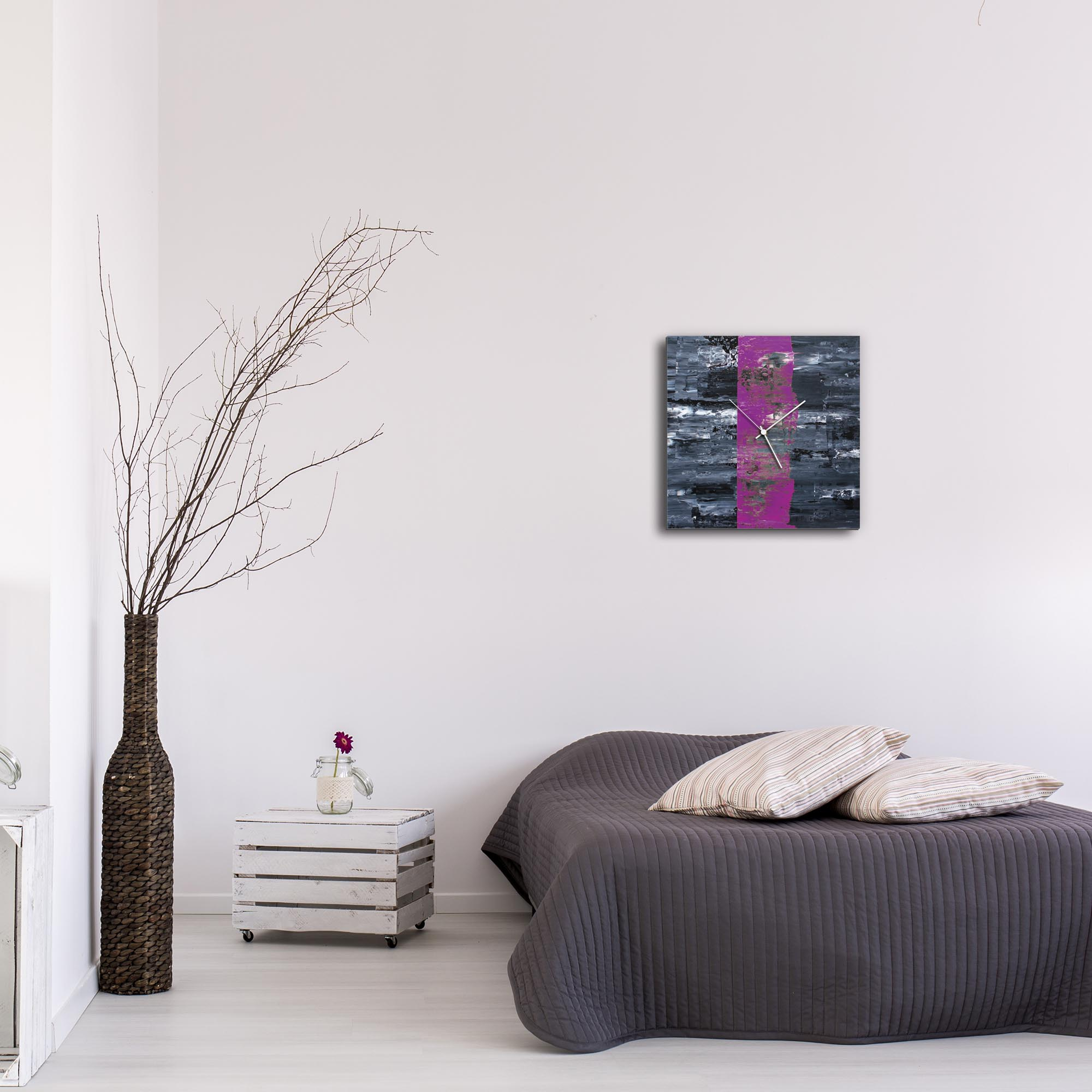 Purple Line Square Clock by Mendo Vasilevski - Urban Abstract Home Decor - Lifestyle View