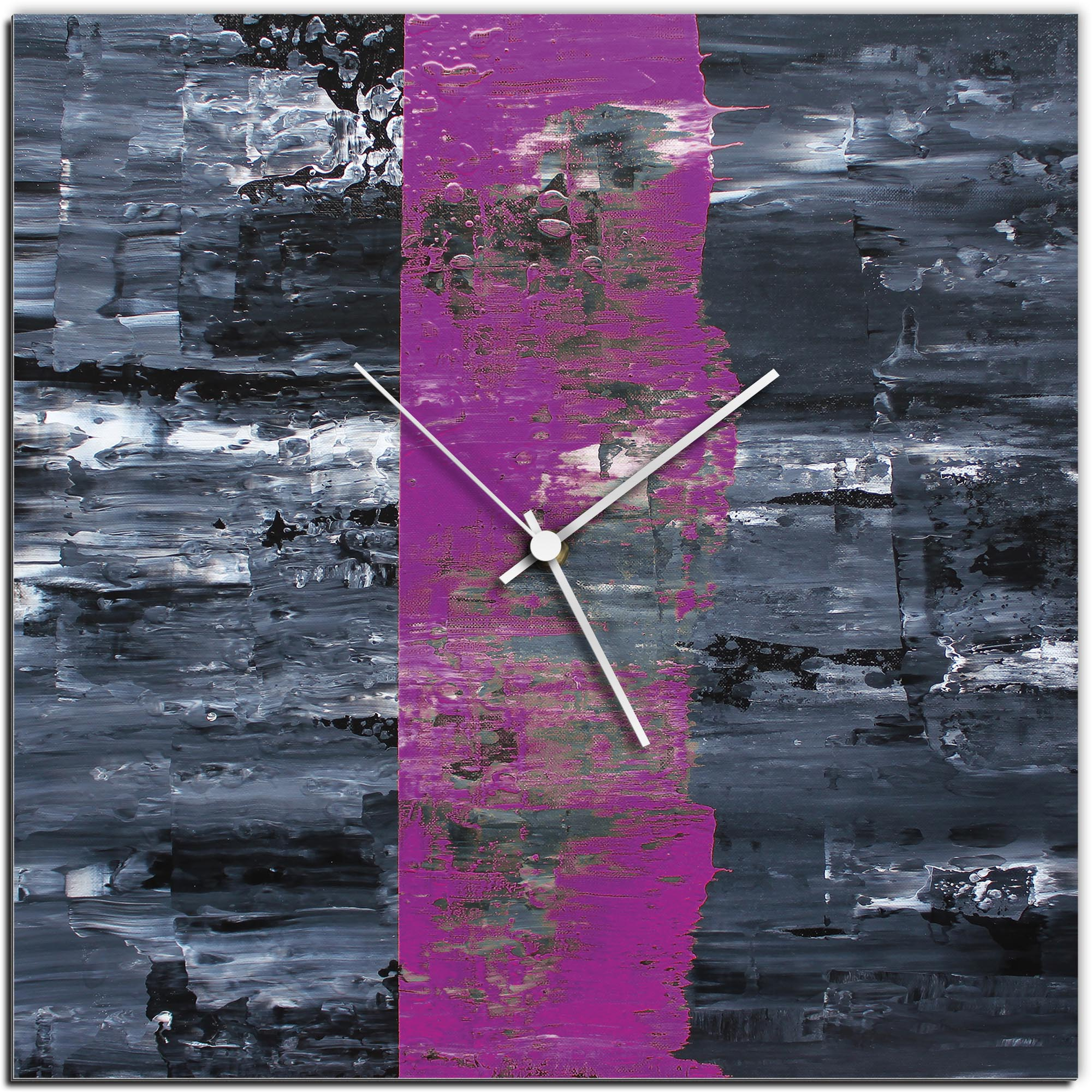 Mendo Vasilevski 'Purple Line Square Clock' 16in x 16in Modern Wall Clock on Aluminum Composite