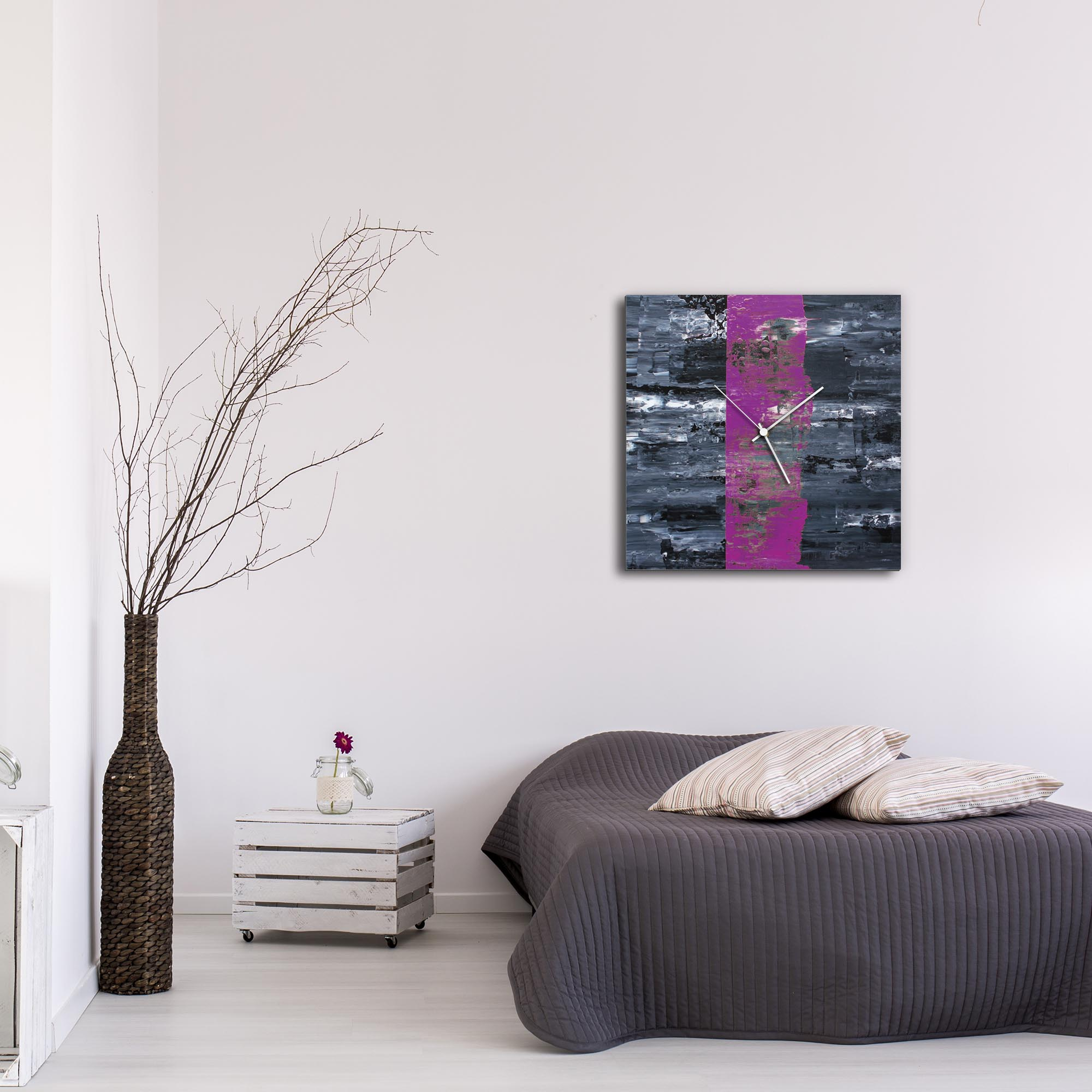 Purple Line Square Clock Large by Mendo Vasilevski - Urban Abstract Home Decor - Lifestyle View