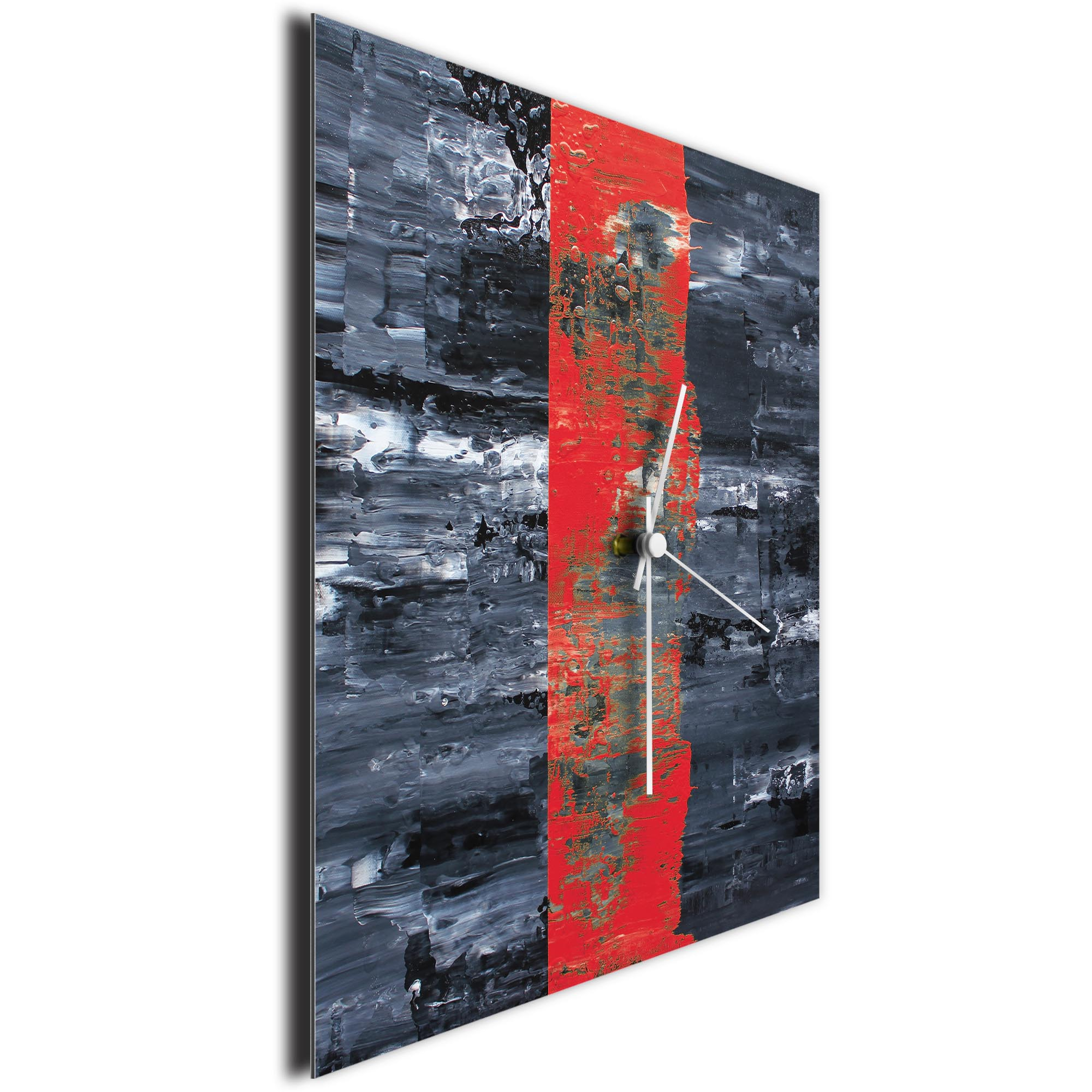 Red Line Square Clock by Mendo Vasilevski - Urban Abstract Home Decor - Image 3