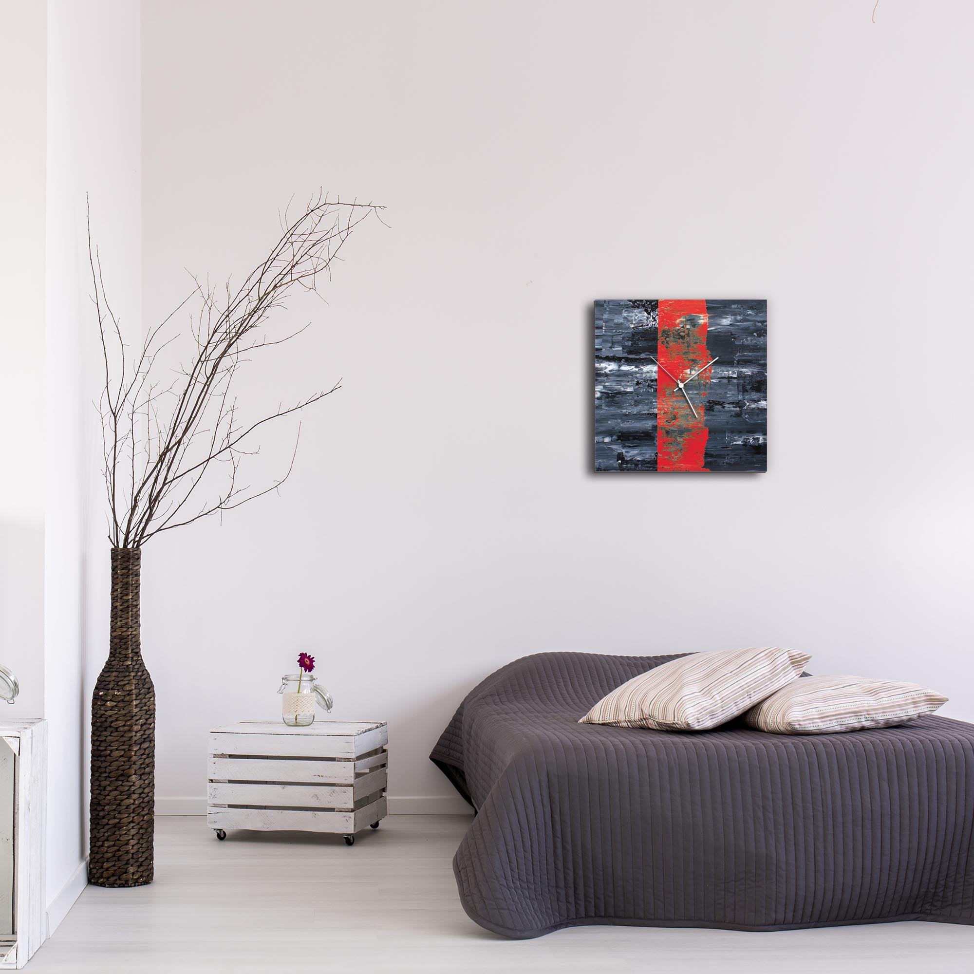 Red Line Square Clock by Mendo Vasilevski - Urban Abstract Home Decor - Lifestyle View