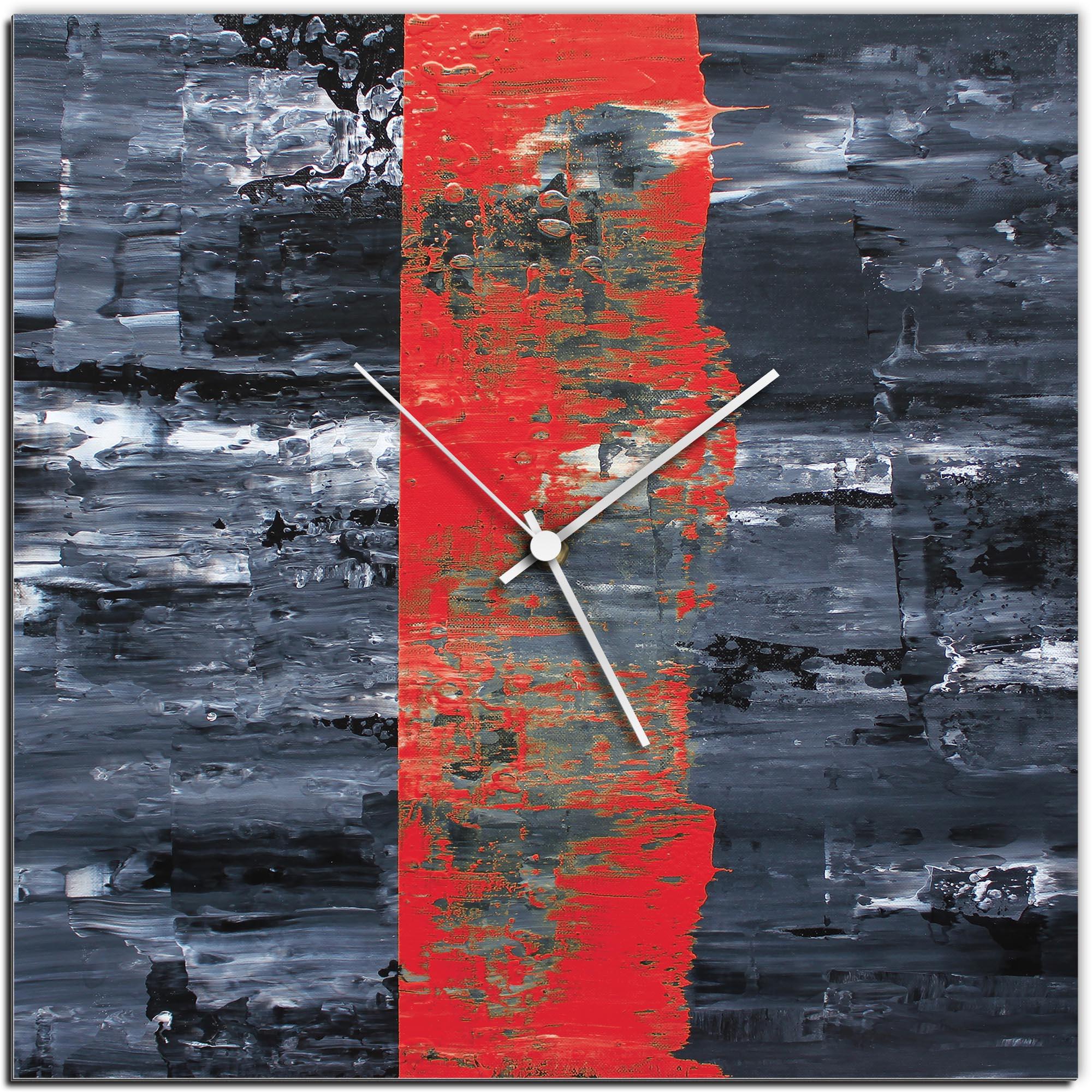 Mendo Vasilevski 'Red Line Square Clock' 16in x 16in Modern Wall Clock on Aluminum Composite