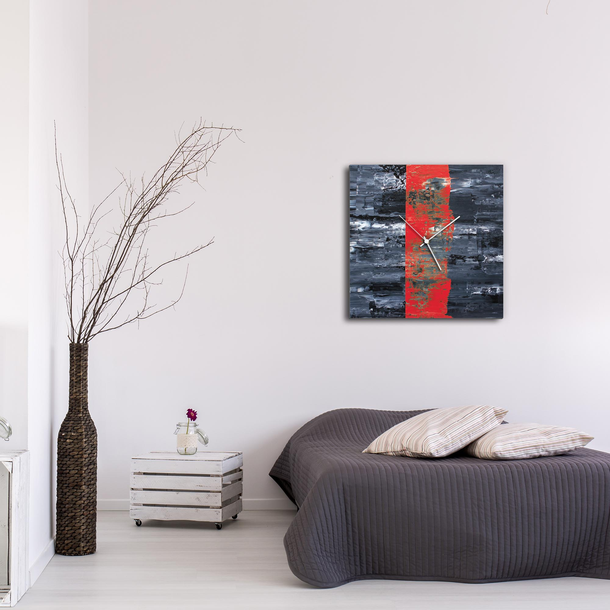 Red Line Square Clock Large by Mendo Vasilevski - Urban Abstract Home Decor - Lifestyle View