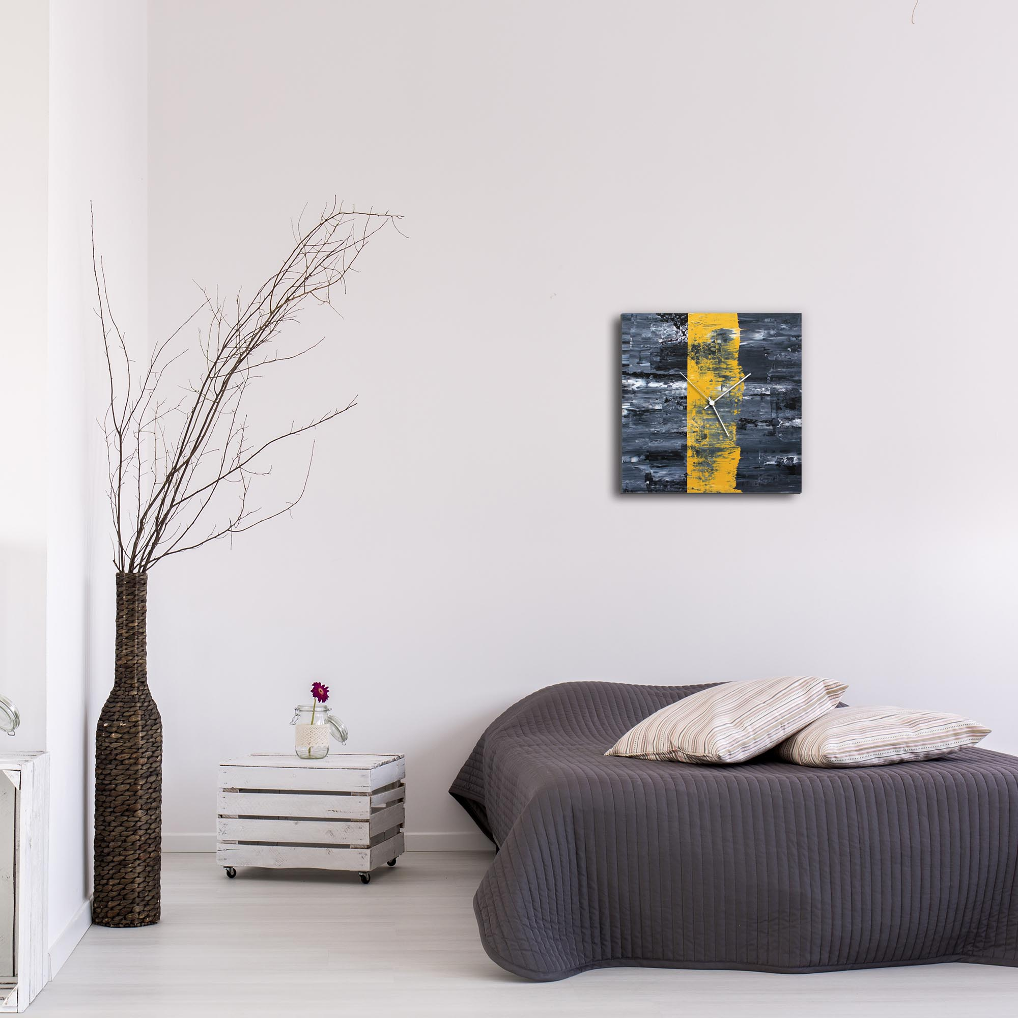 Yellow Line Square Clock by Mendo Vasilevski - Urban Abstract Home Decor - Lifestyle View