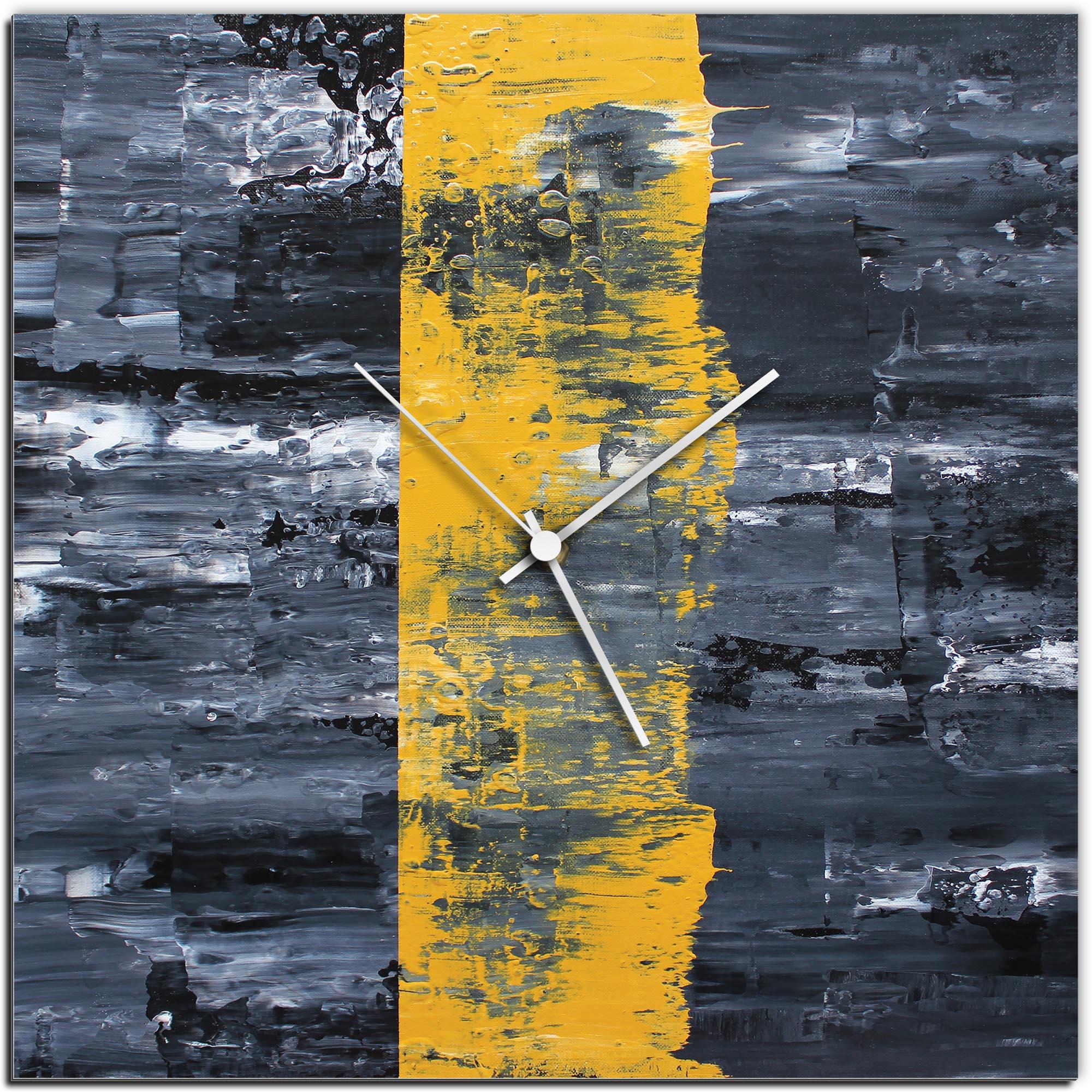 Mendo Vasilevski 'Yellow Line Square Clock' 16in x 16in Modern Wall Clock on Aluminum Composite