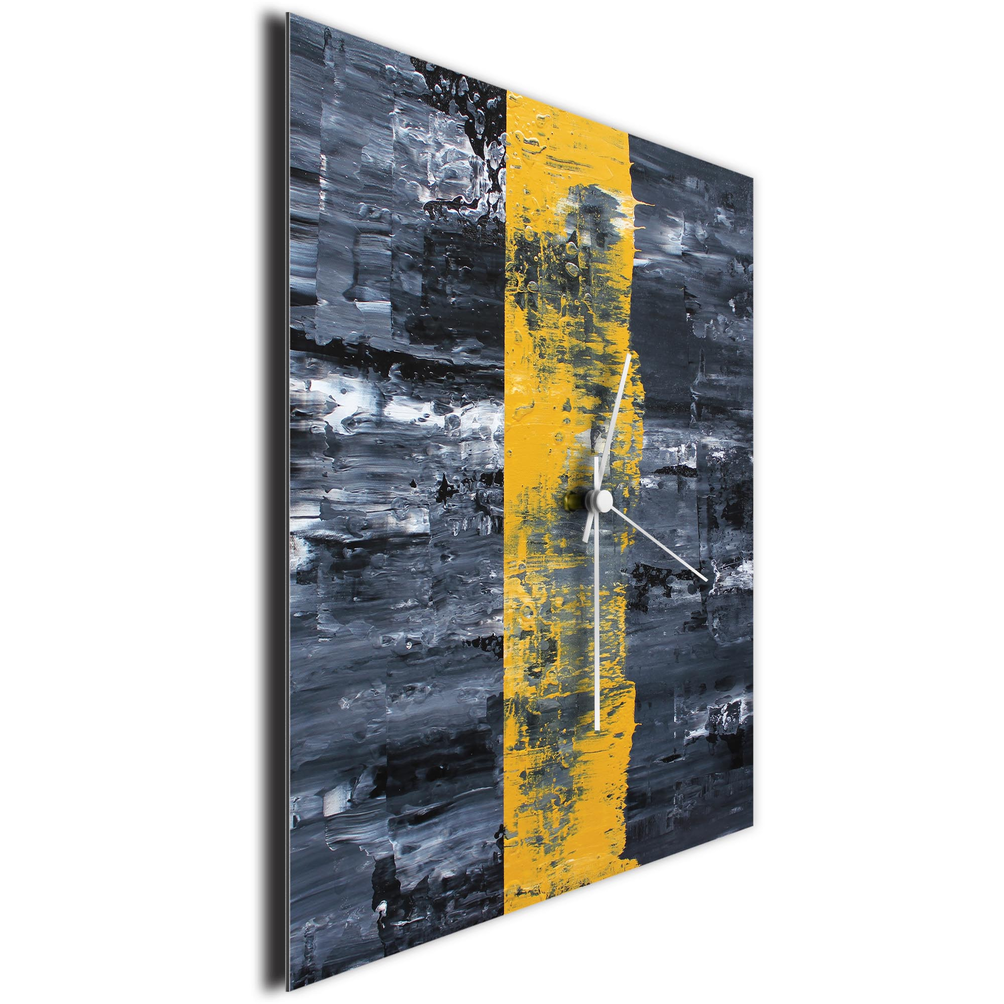 Yellow Line Square Clock Large by Mendo Vasilevski - Urban Abstract Home Decor - Image 3