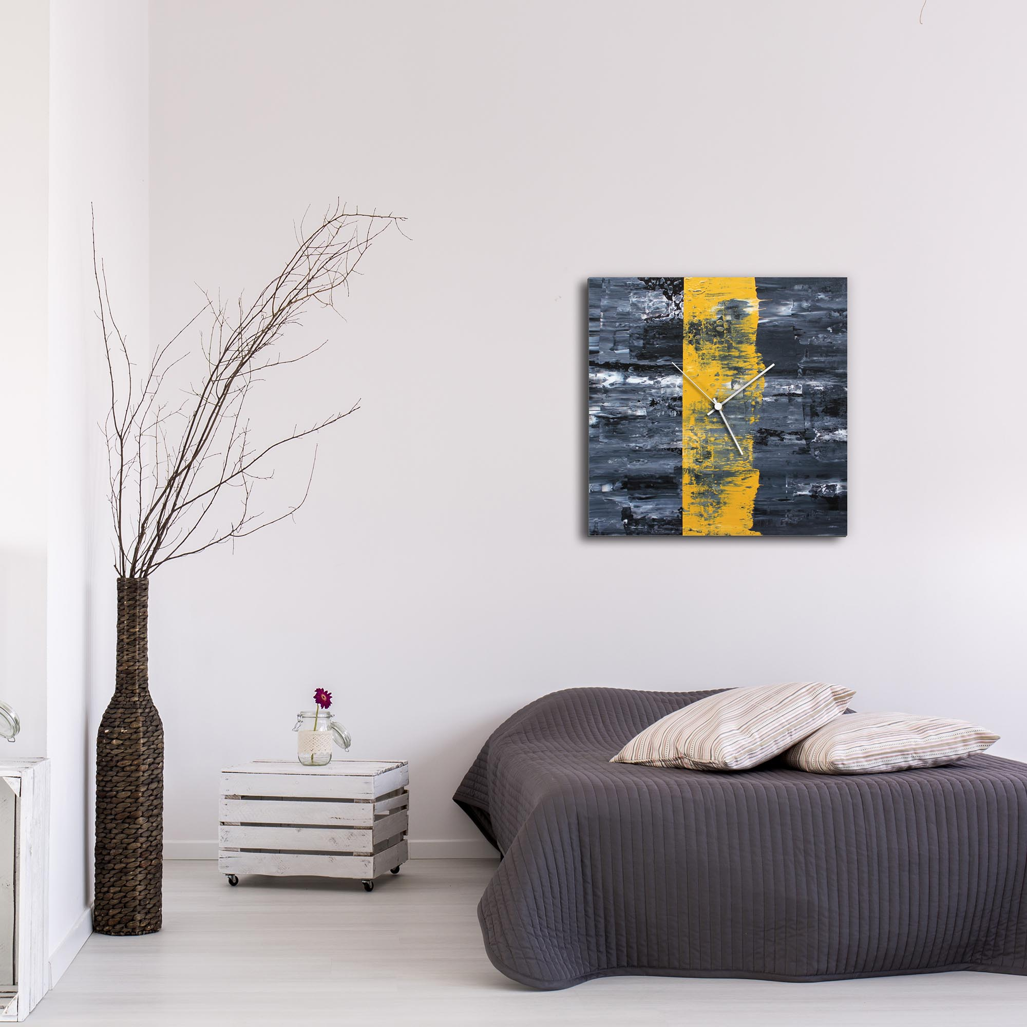 Yellow Line Square Clock Large by Mendo Vasilevski - Urban Abstract Home Decor - Lifestyle View