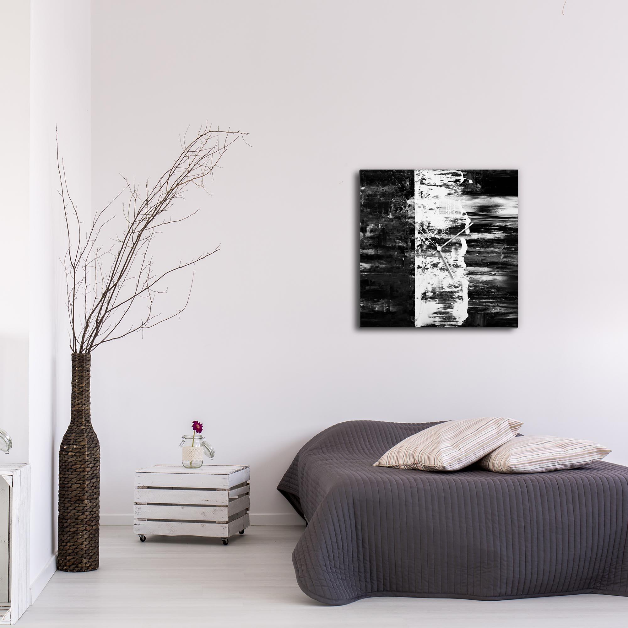 Black Street Square Clock Large by Mendo Vasilevski - Urban Abstract Home Decor - Lifestyle View