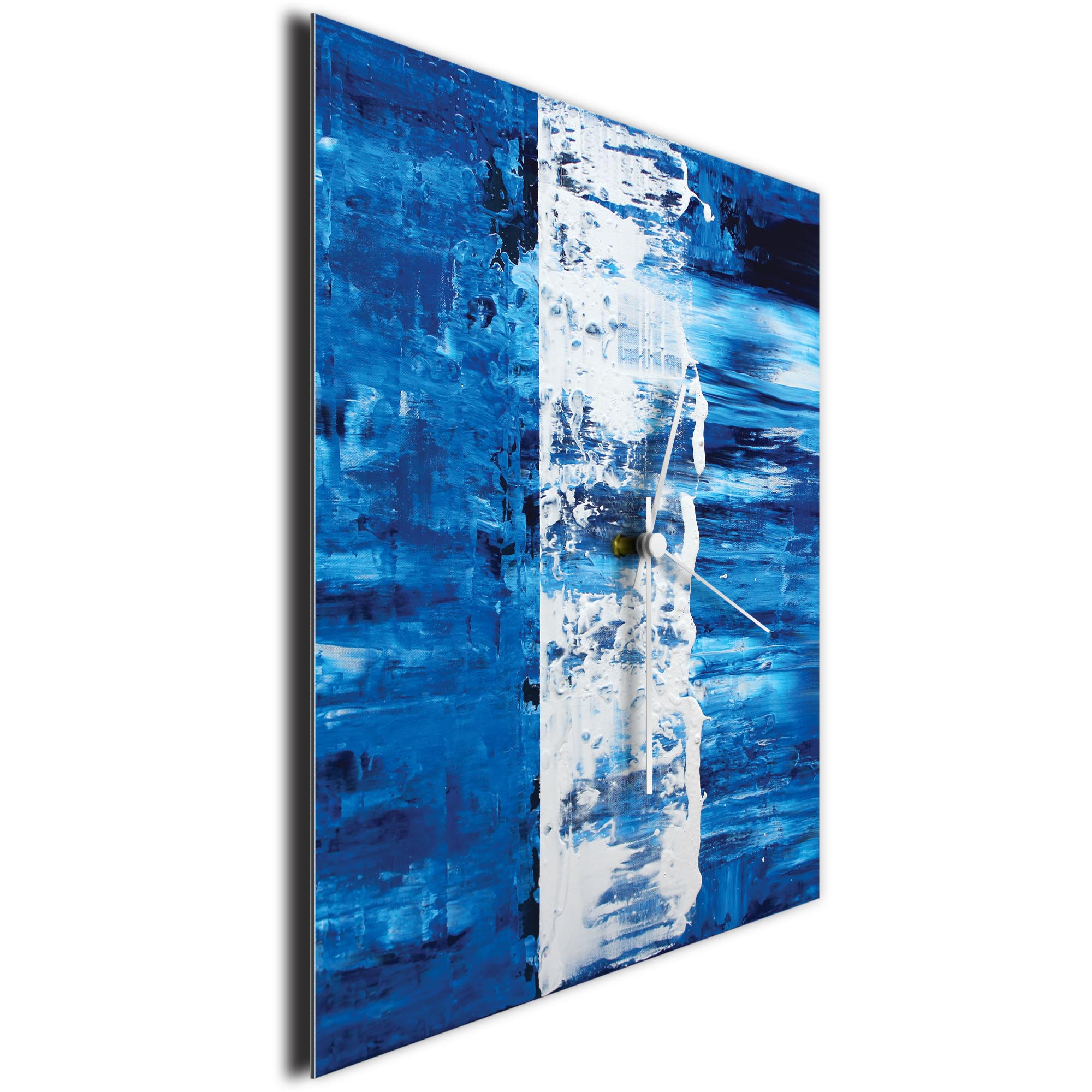 Blue Street Square Clock by Mendo Vasilevski - Urban Abstract Home Decor - Image 3