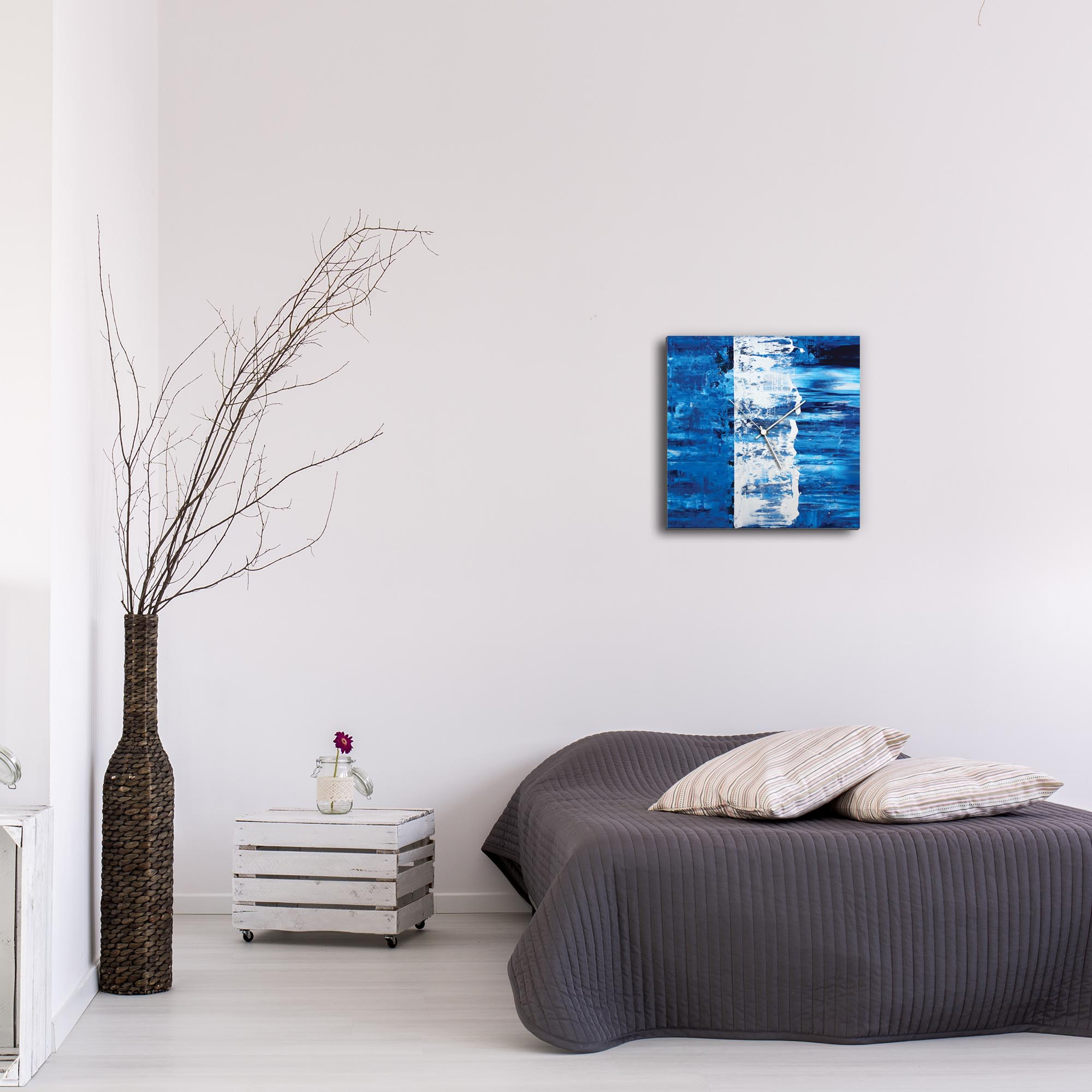 Blue Street Square Clock by Mendo Vasilevski - Urban Abstract Home Decor - Lifestyle View