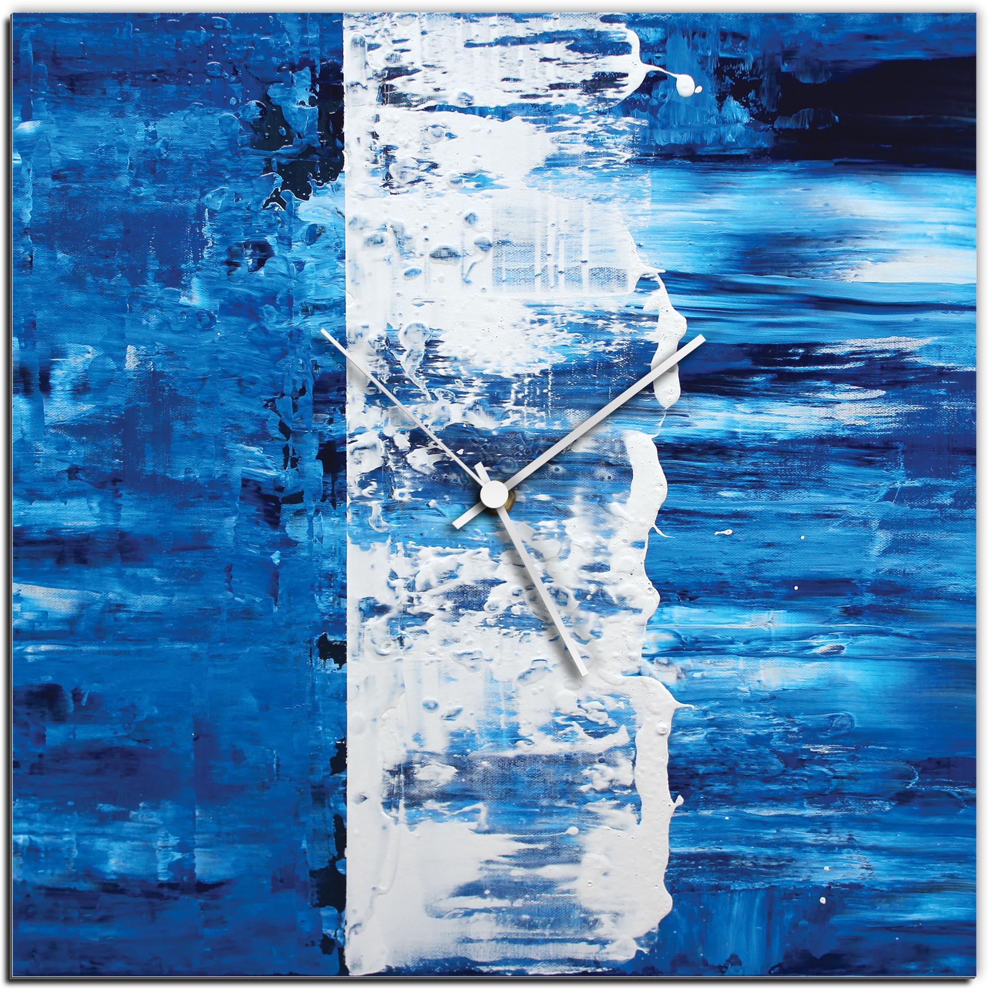 Mendo Vasilevski 'Blue Street Square Clock' 16in x 16in Modern Wall Clock on Aluminum Composite