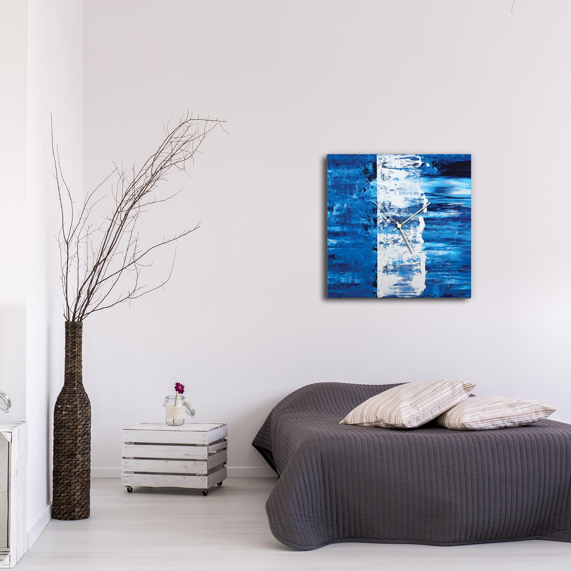 Blue Street Square Clock Large by Mendo Vasilevski - Urban Abstract Home Decor - Lifestyle View