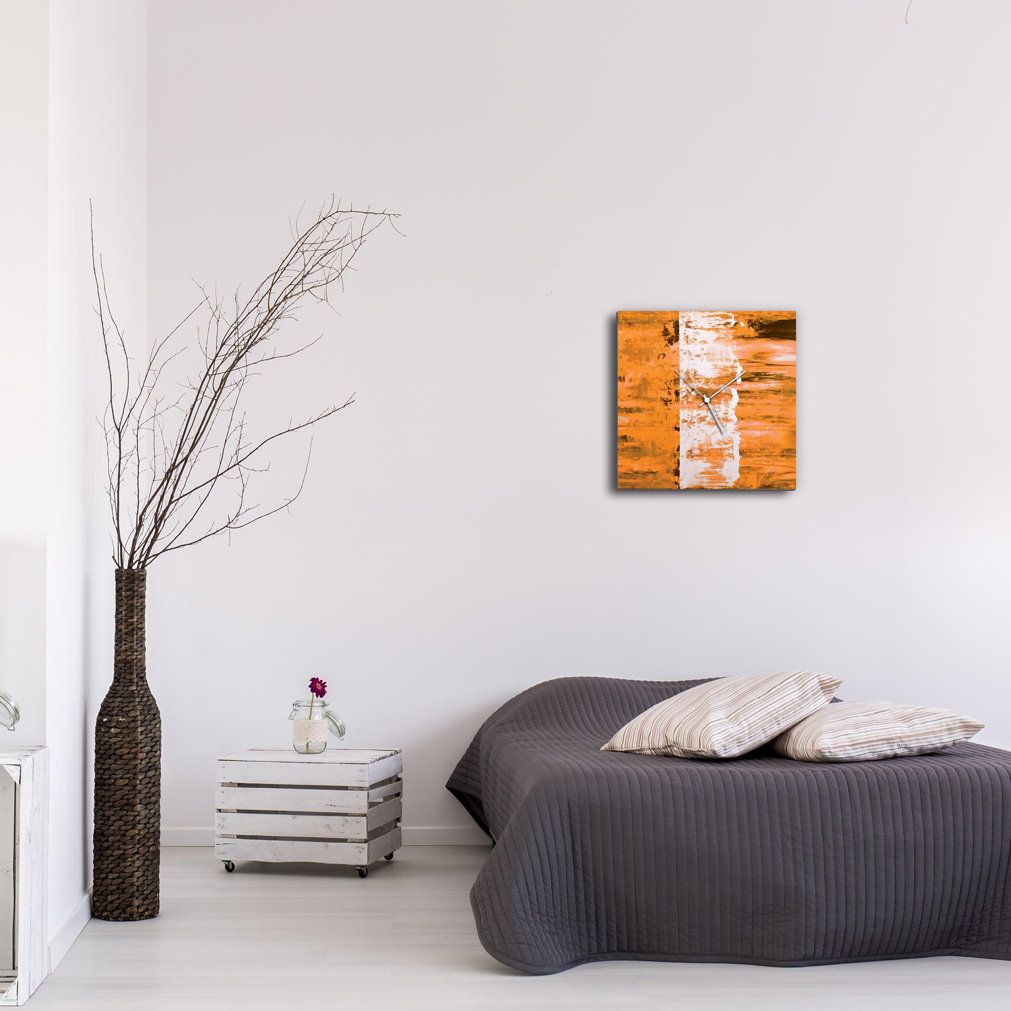 Orange Street Square Clock by Mendo Vasilevski - Urban Abstract Home Decor - Lifestyle View