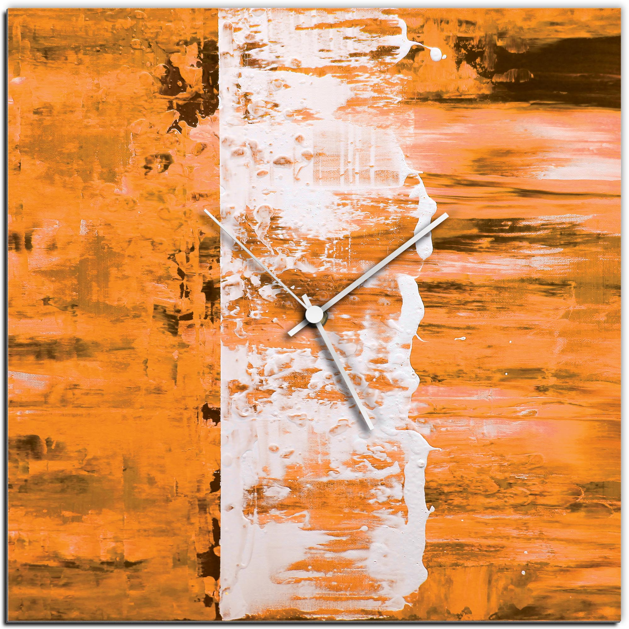 Mendo Vasilevski 'Orange Street Square Clock' 16in x 16in Modern Wall Clock on Aluminum Composite