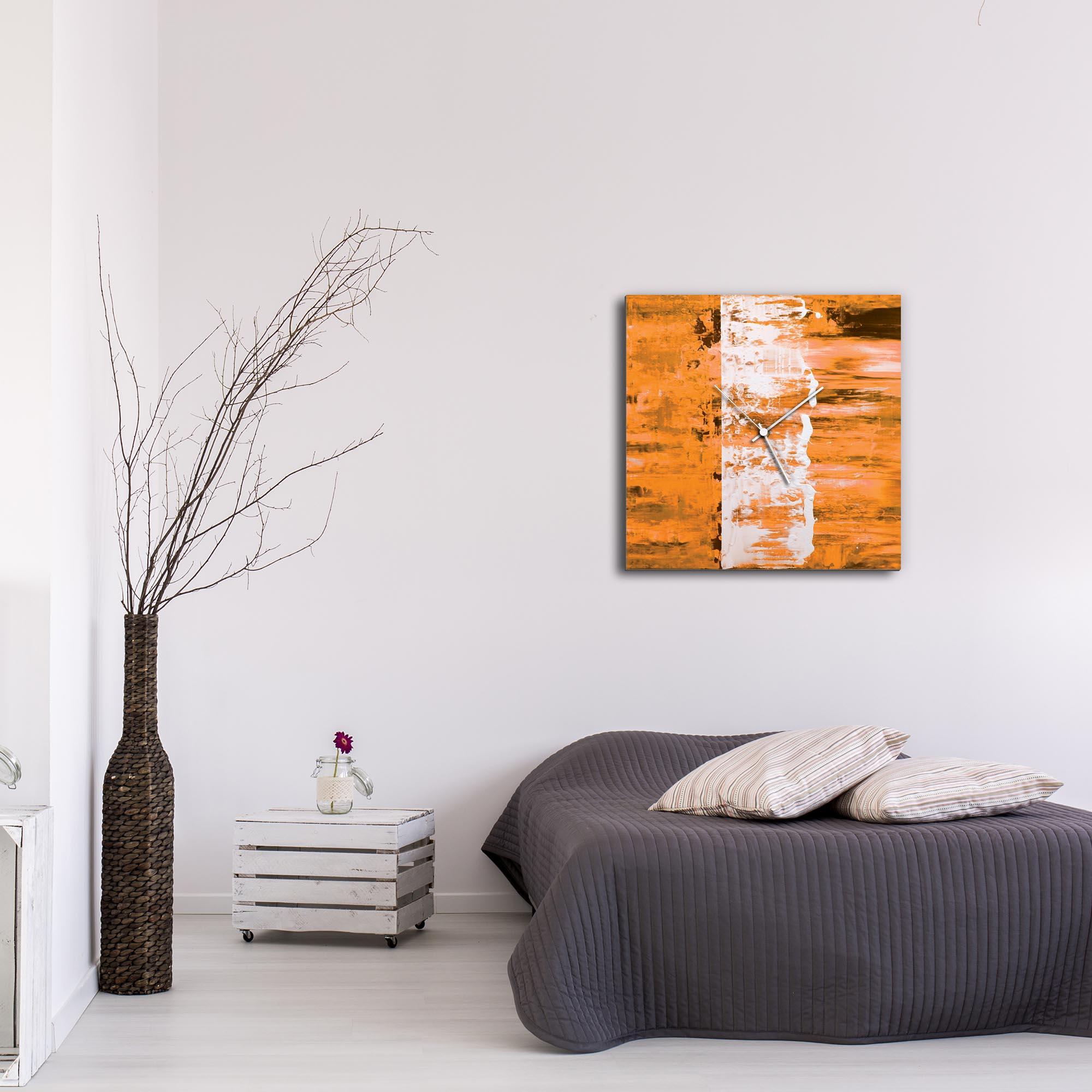 Orange Street Square Clock Large by Mendo Vasilevski - Urban Abstract Home Decor - Lifestyle View
