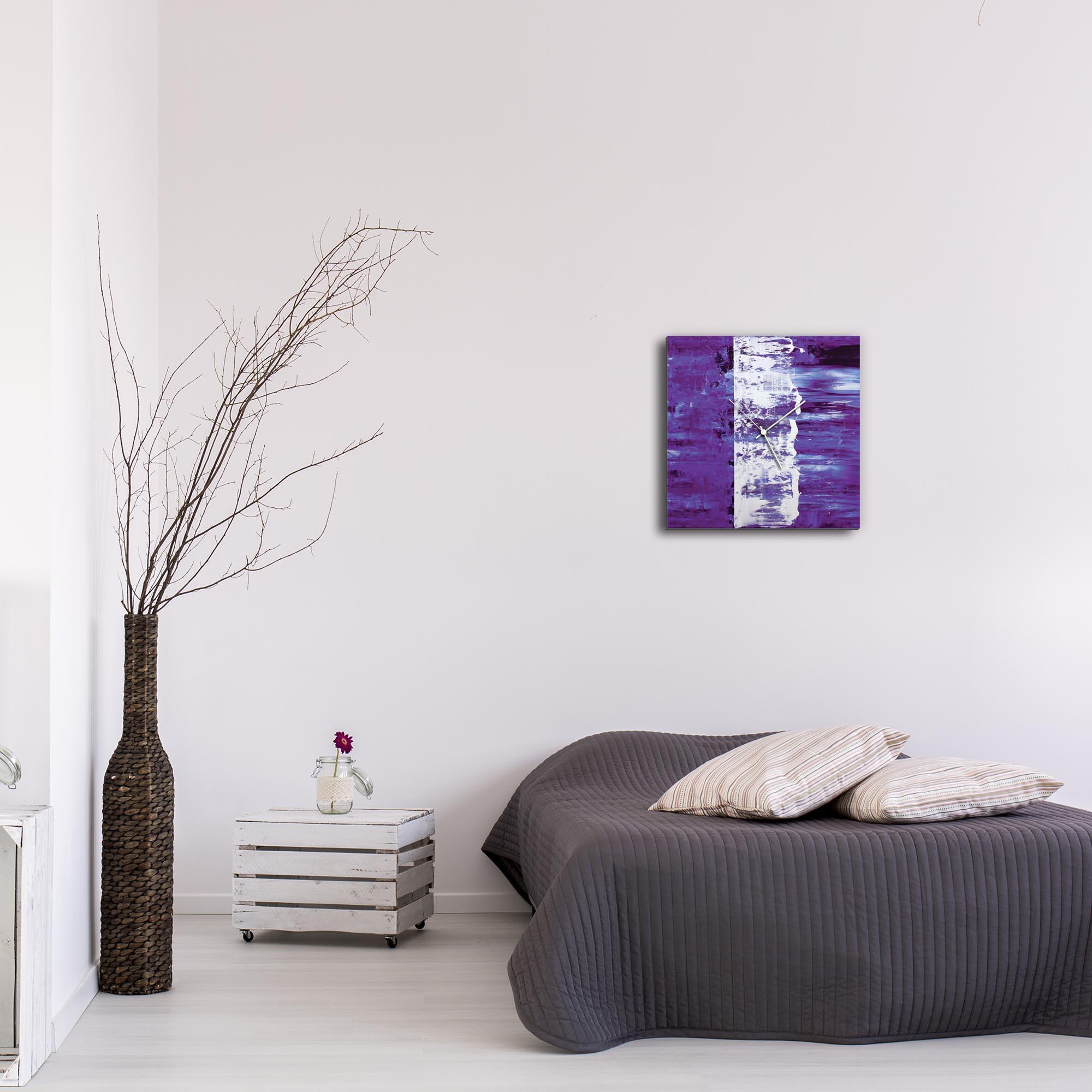 Purple Street Square Clock by Mendo Vasilevski - Urban Abstract Home Decor - Lifestyle View