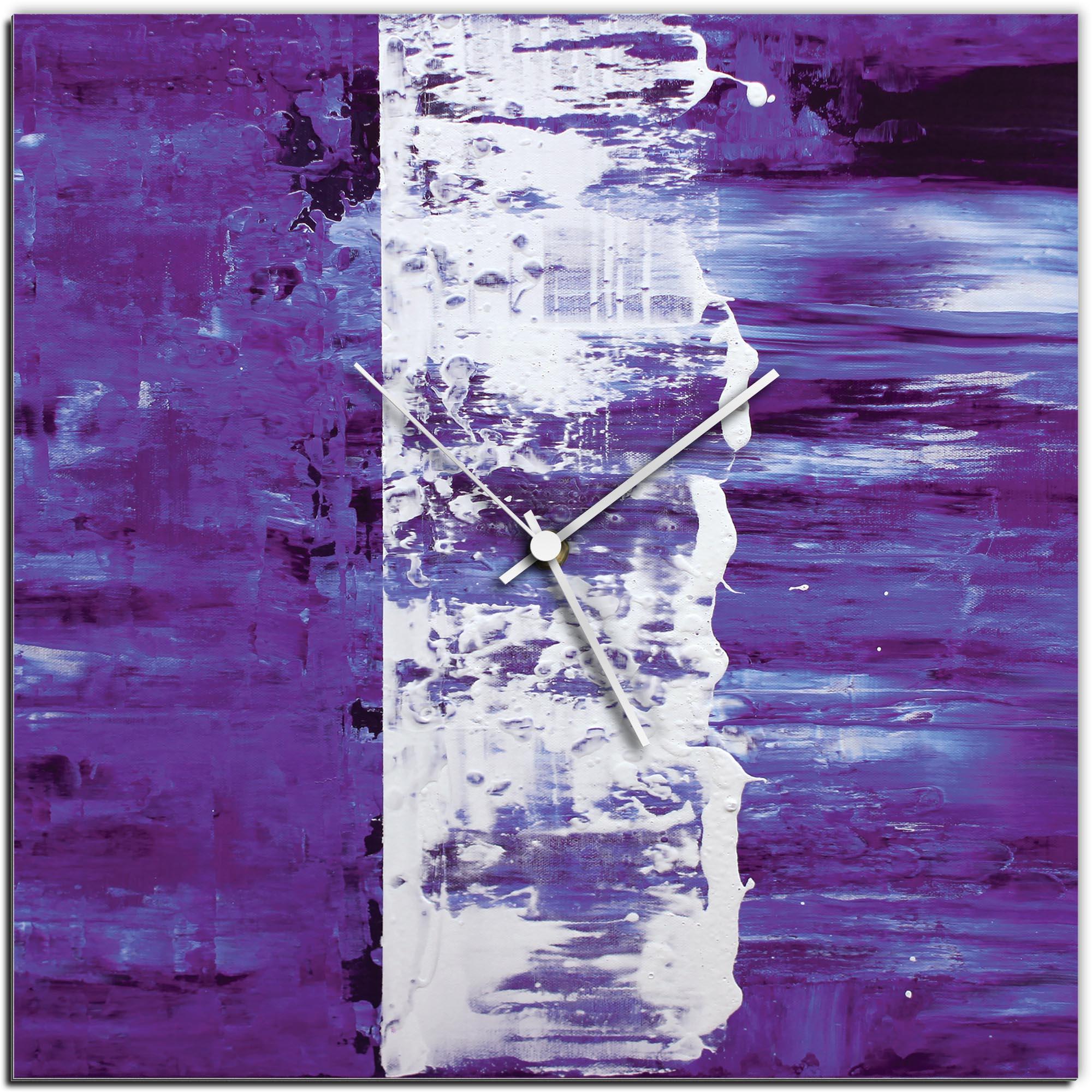 Mendo Vasilevski 'Purple Street Square Clock' 16in x 16in Modern Wall Clock on Aluminum Composite