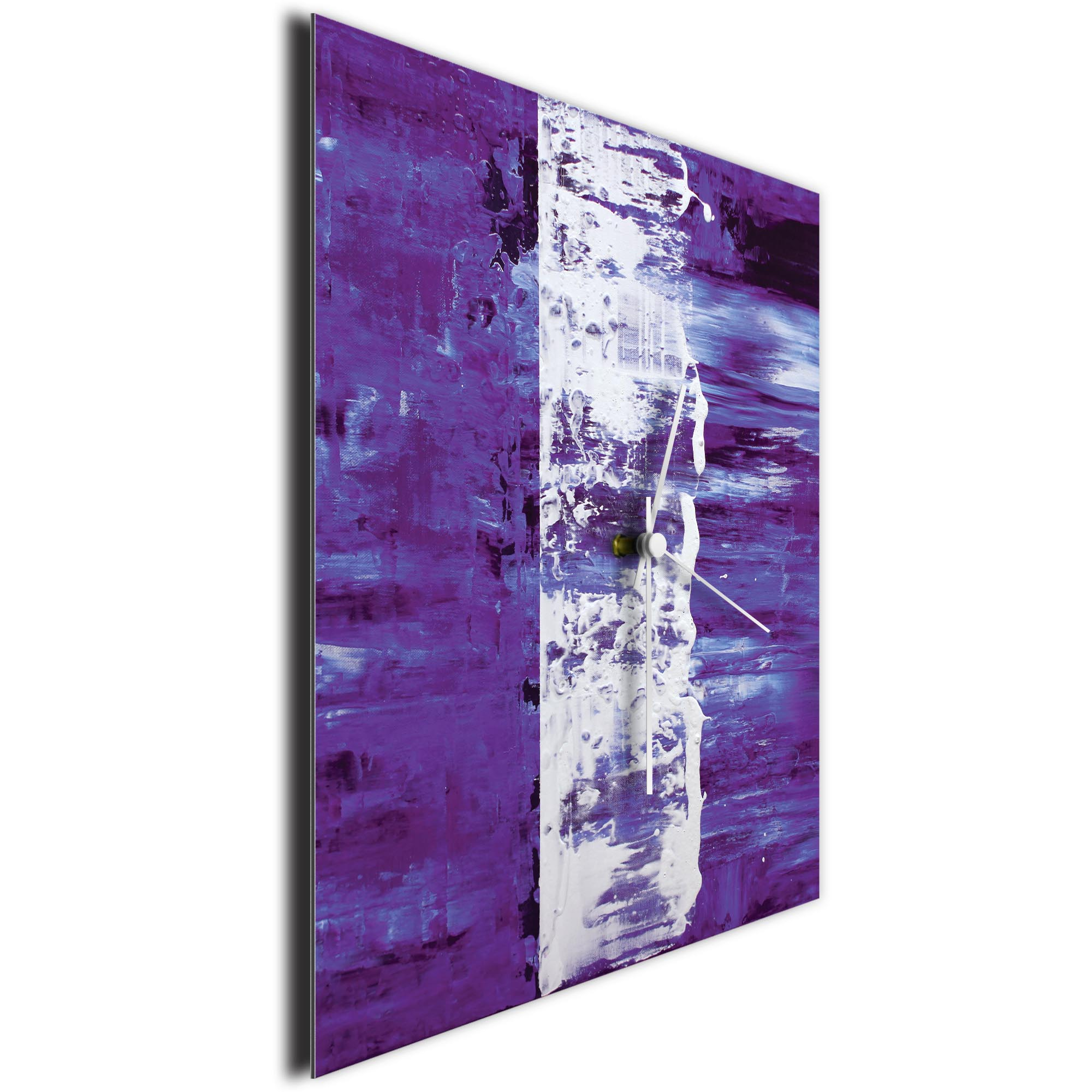 Purple Street Square Clock Large by Mendo Vasilevski - Urban Abstract Home Decor - Image 3