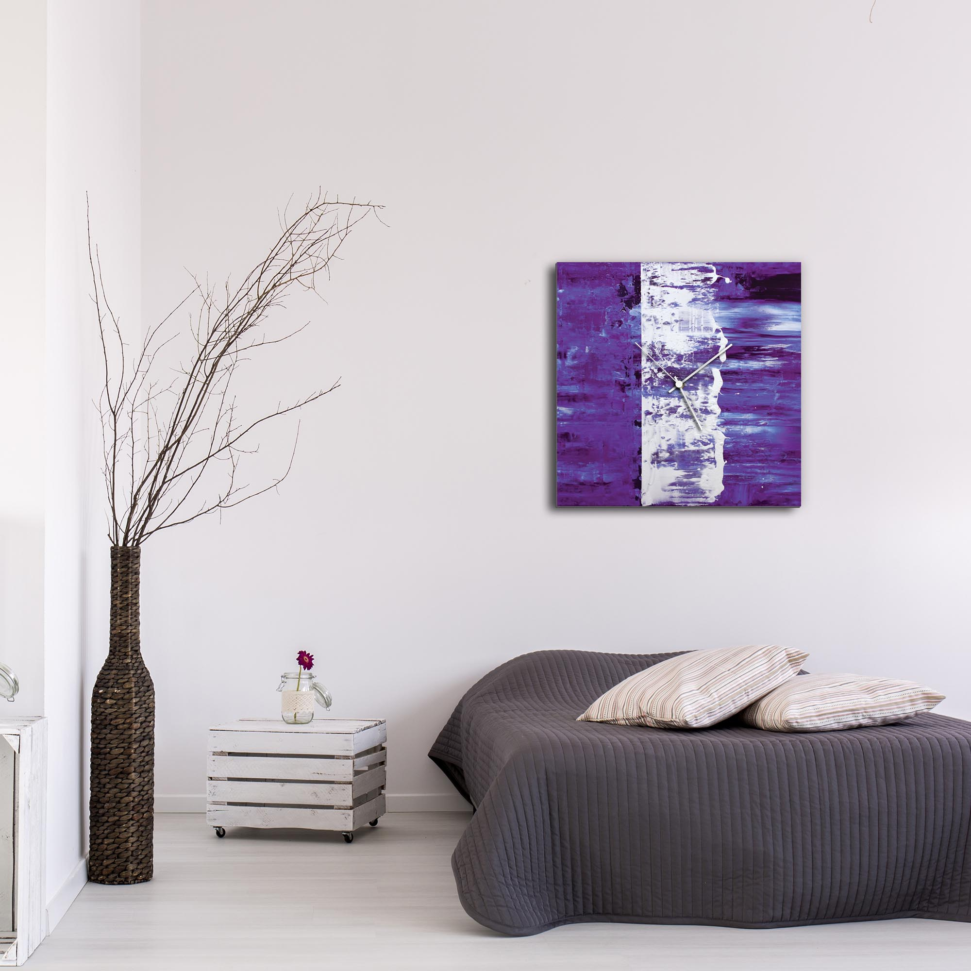 Purple Street Square Clock Large by Mendo Vasilevski - Urban Abstract Home Decor - Lifestyle View