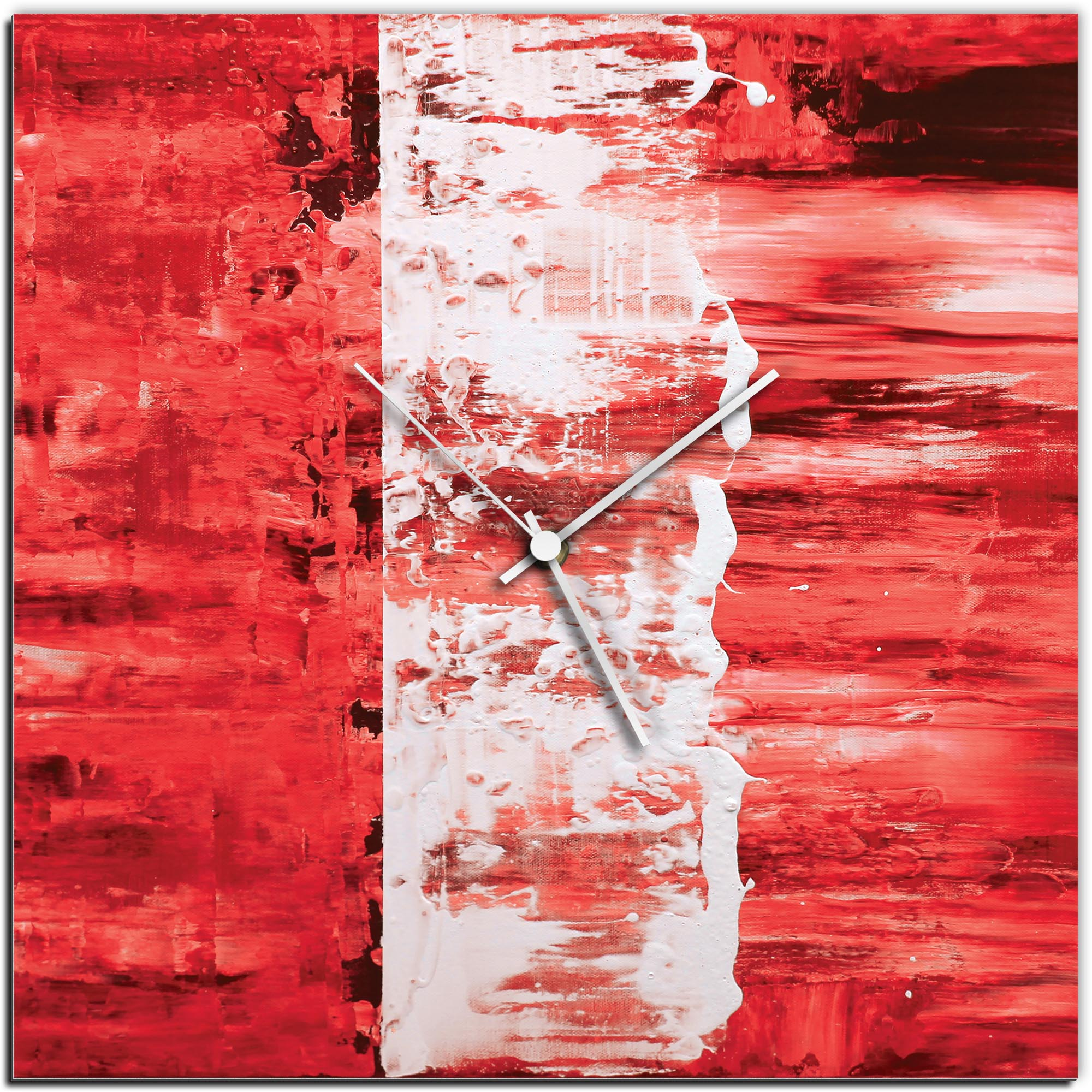 Mendo Vasilevski 'Red Street Square Clock' 16in x 16in Modern Wall Clock on Aluminum Composite