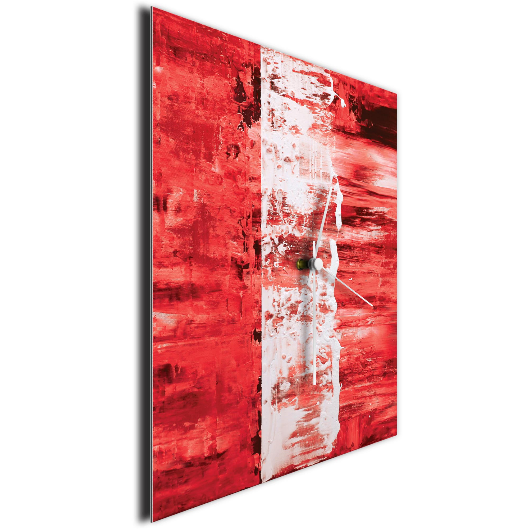Red Street Square Clock Large by Mendo Vasilevski - Urban Abstract Home Decor - Image 3