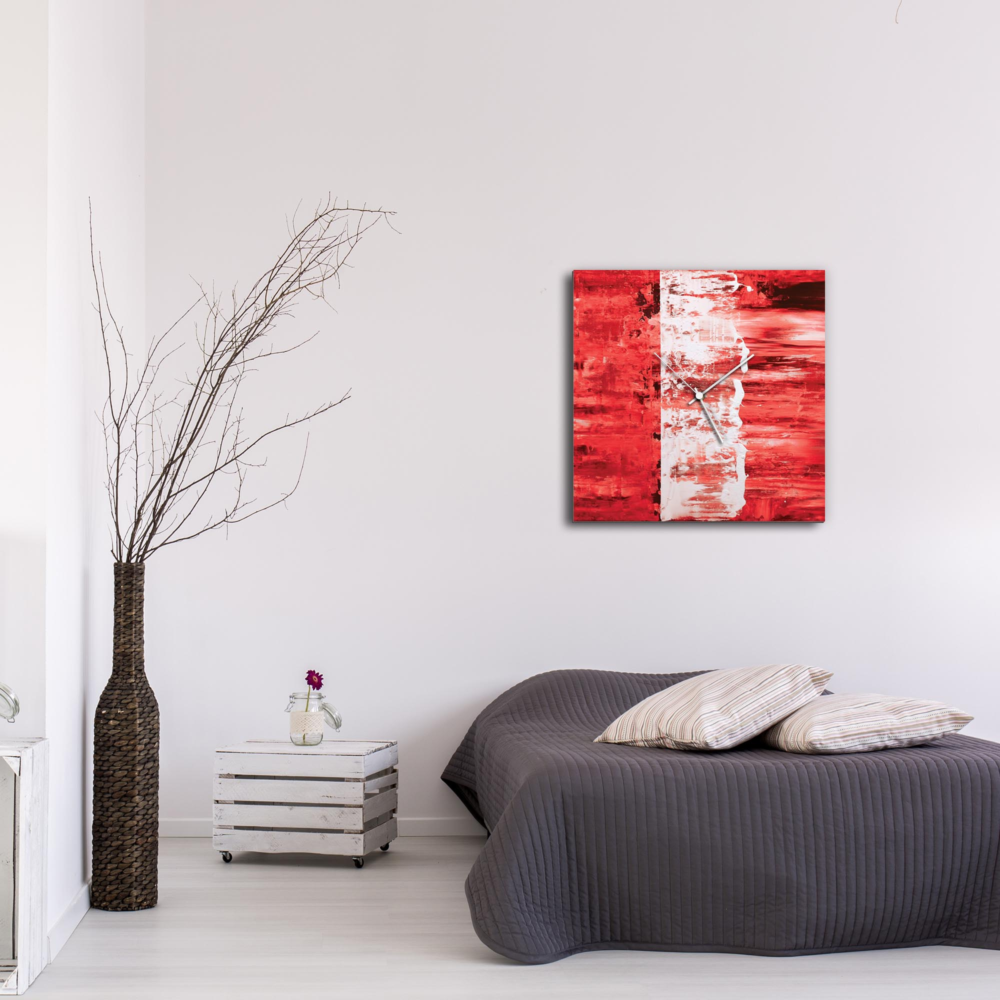 Red Street Square Clock Large by Mendo Vasilevski - Urban Abstract Home Decor - Lifestyle View