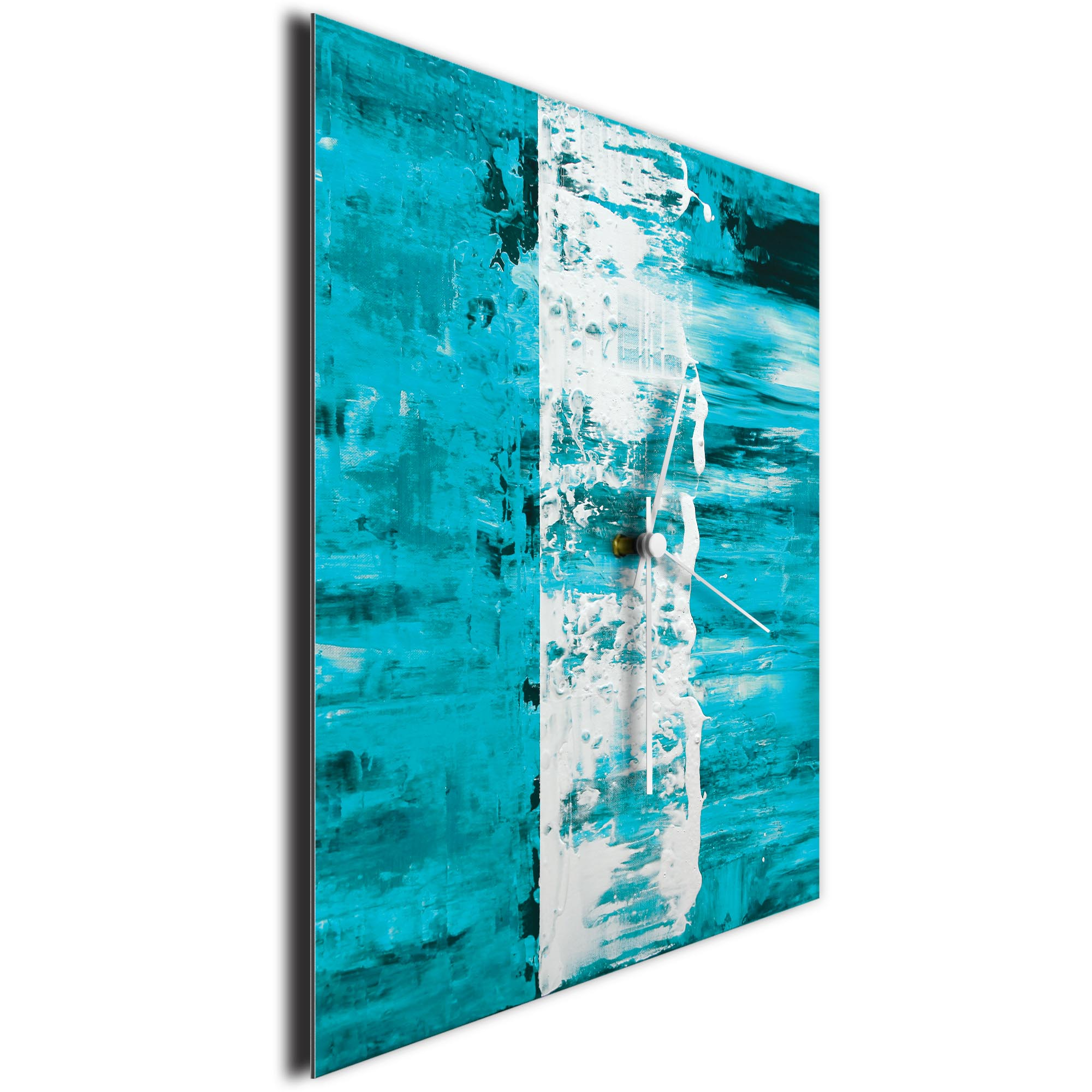 Teal Street Square Clock by Mendo Vasilevski - Urban Abstract Home Decor - Image 3
