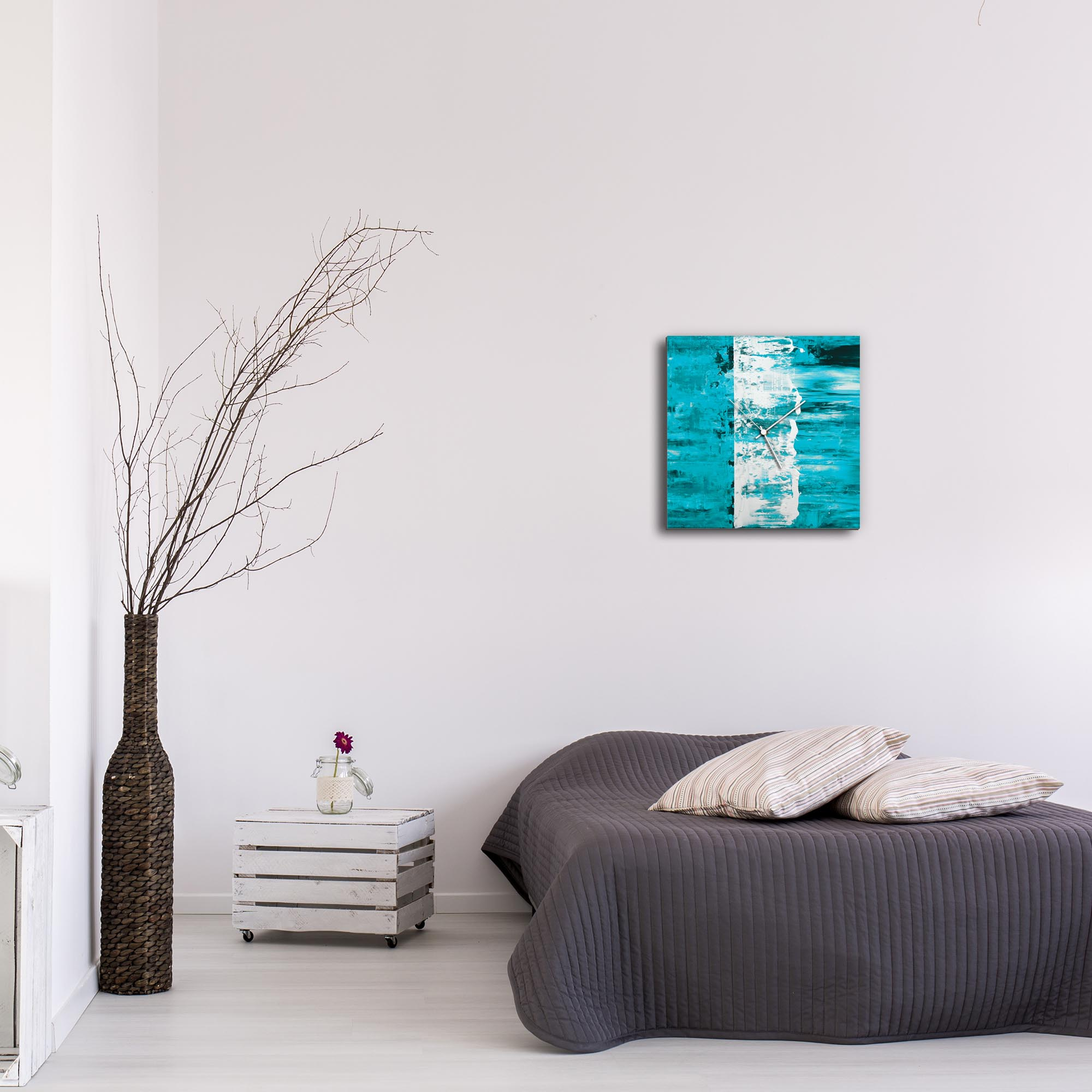 Teal Street Square Clock by Mendo Vasilevski - Urban Abstract Home Decor - Lifestyle View