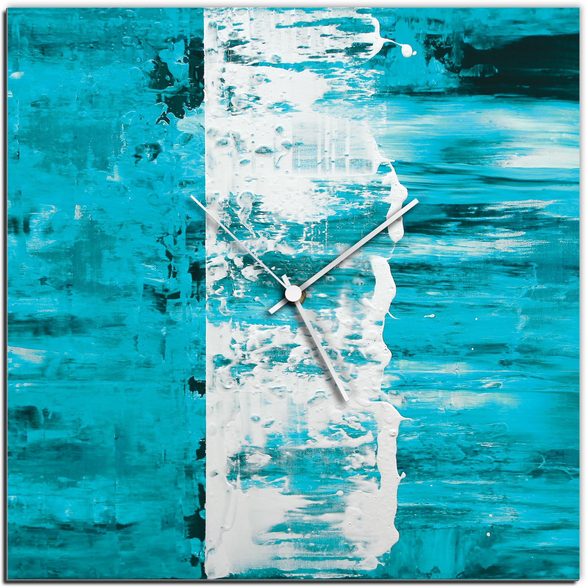 Mendo Vasilevski 'Teal Street Square Clock' 16in x 16in Modern Wall Clock on Aluminum Composite