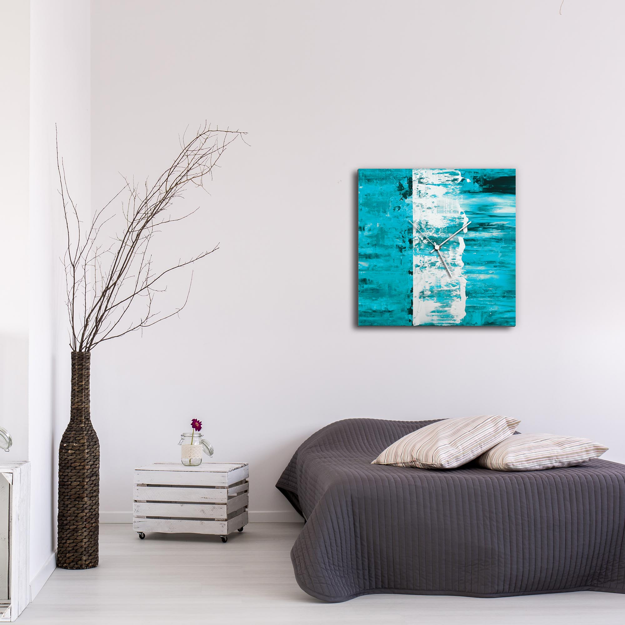 Teal Street Square Clock Large by Mendo Vasilevski - Urban Abstract Home Decor - Lifestyle View