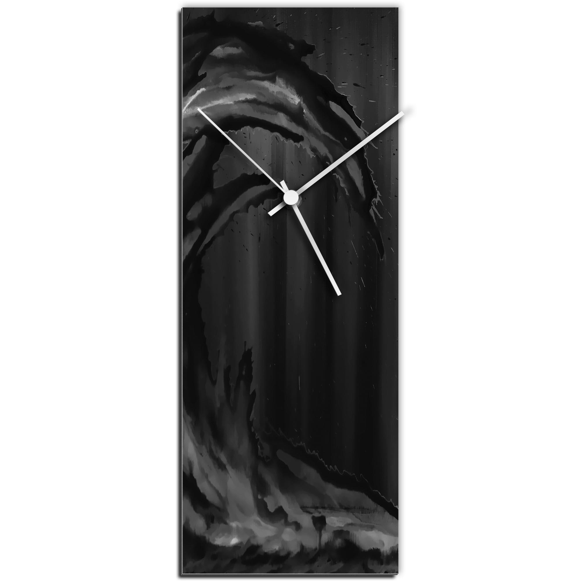 Mendo Vasilevski 'Black Wave v1 Clock Large' 9in x 24in Modern Wall Clock on Aluminum Composite
