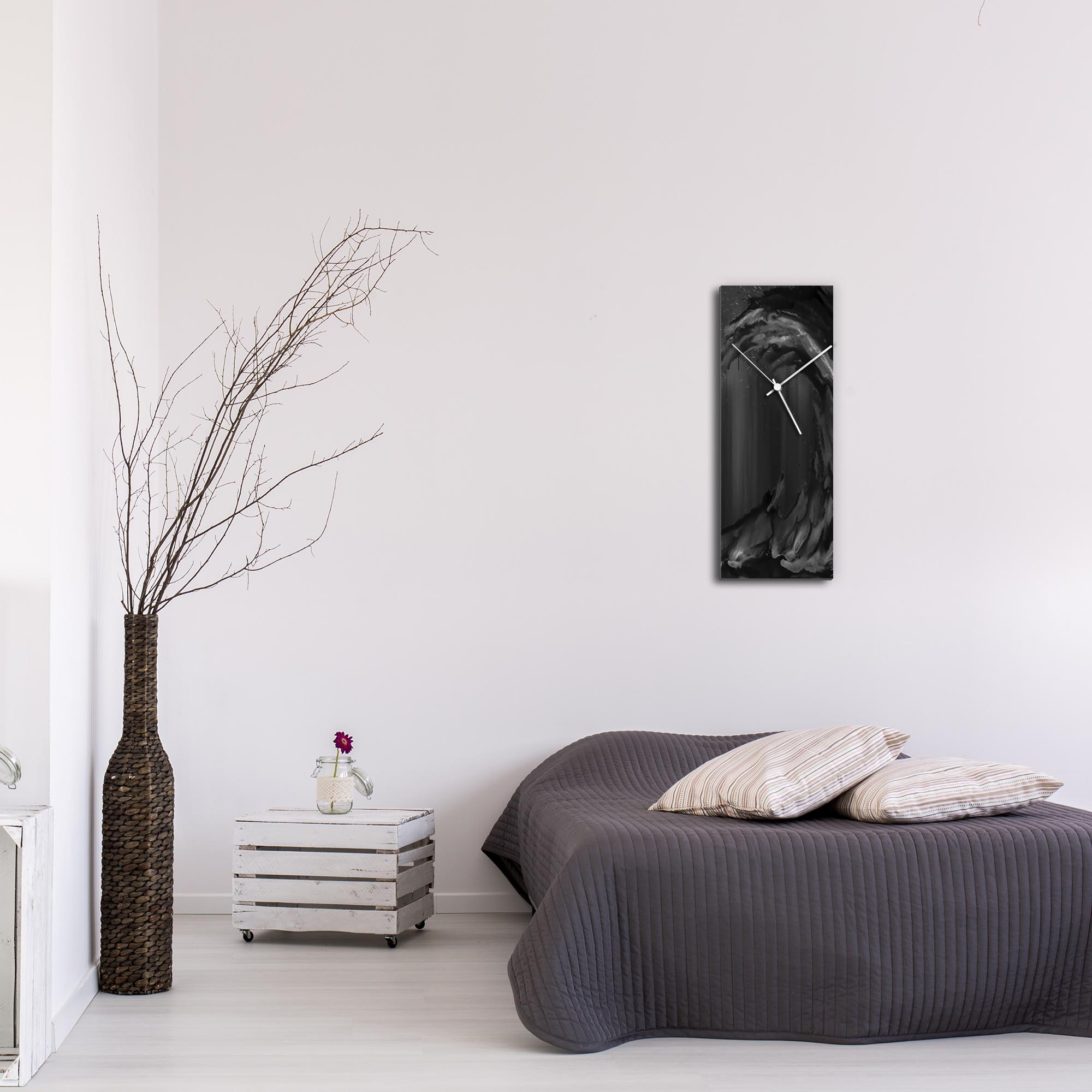 Black Wave v2 Clock Large by Mendo Vasilevski - Urban Abstract Home Decor - Lifestyle View