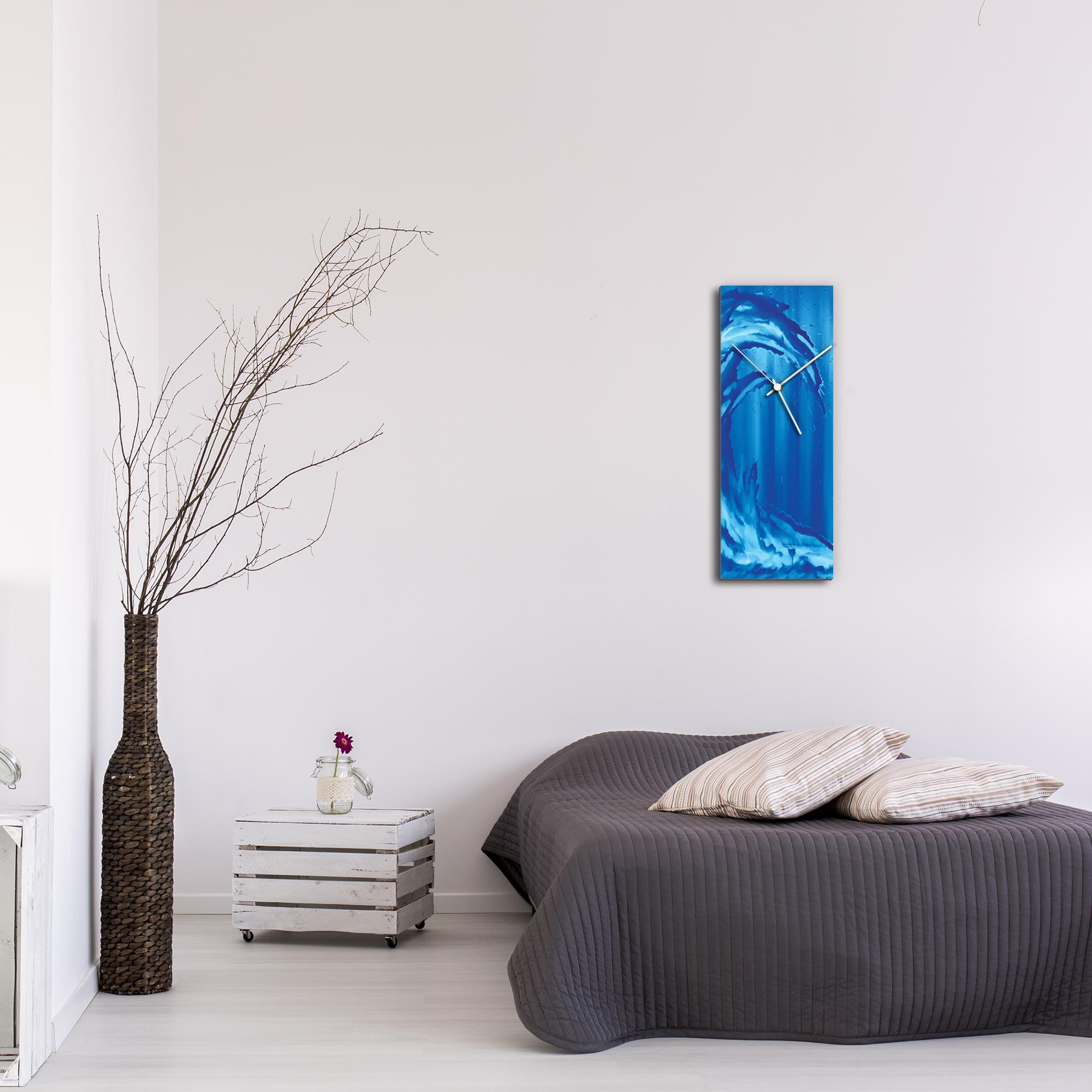 Blue Wave v1 Clock Large by Mendo Vasilevski - Urban Abstract Home Decor - Lifestyle View