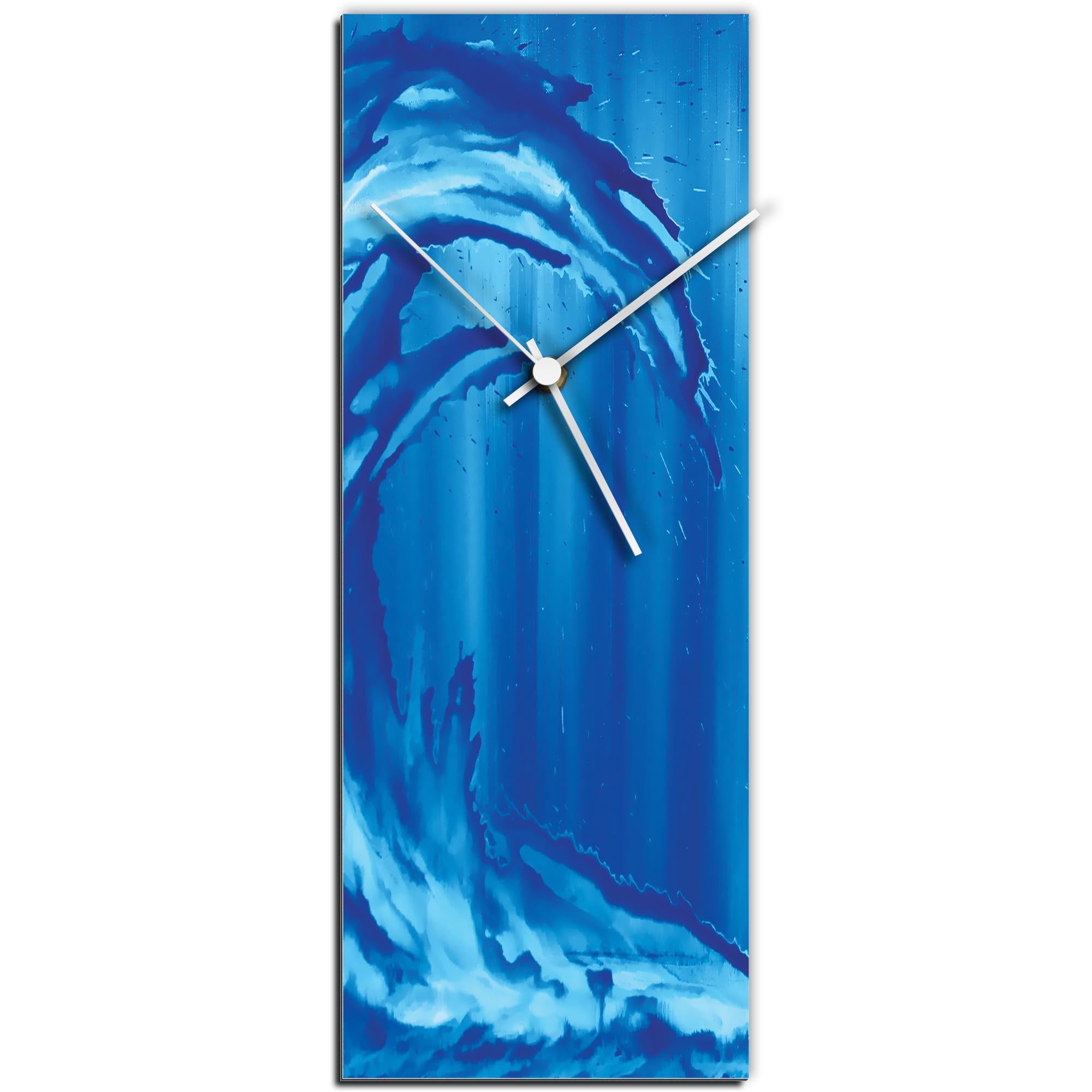 Mendo Vasilevski 'Blue Wave v1 Clock Large' 9in x 24in Modern Wall Clock on Aluminum Composite