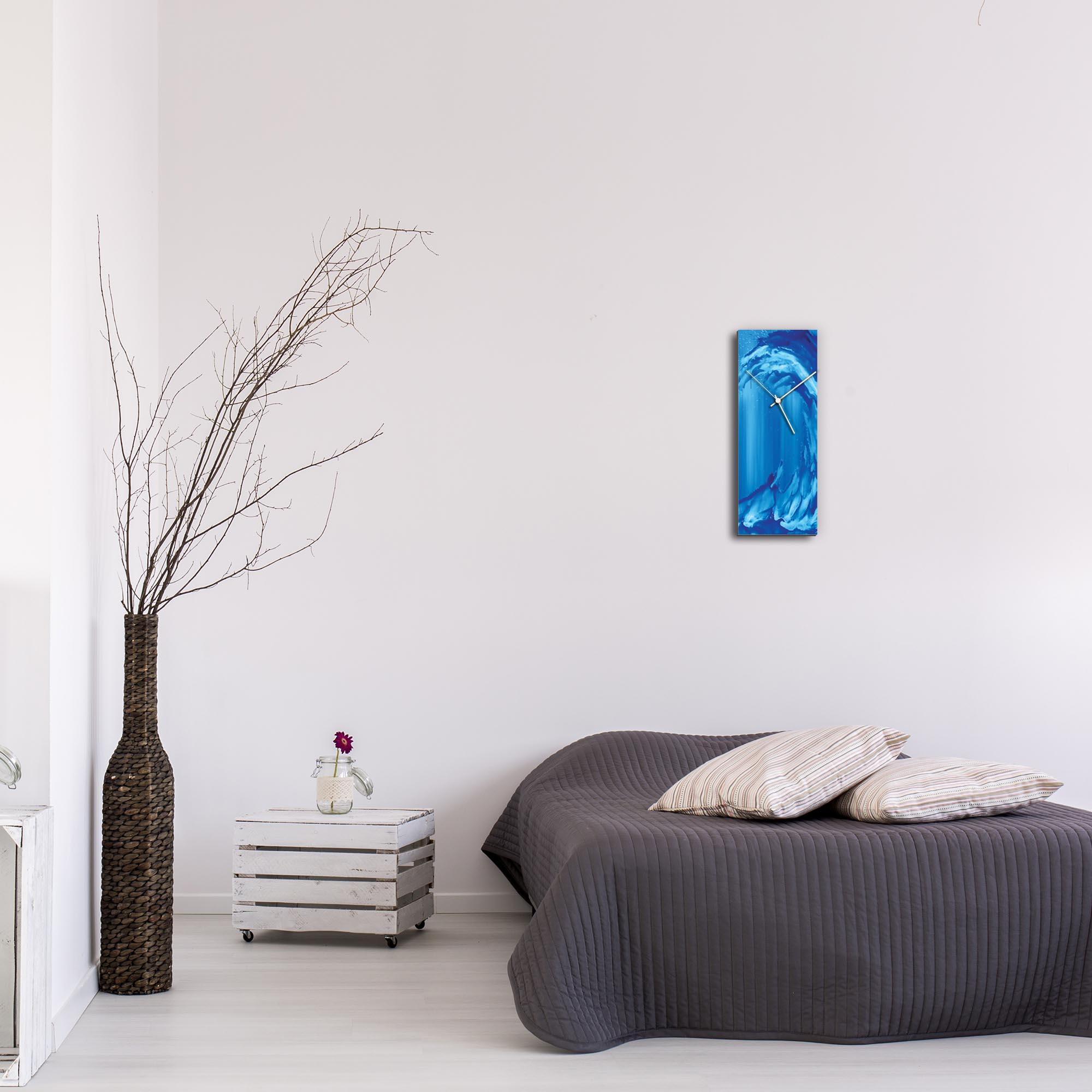 Blue Wave v2 Clock by Mendo Vasilevski - Urban Abstract Home Decor - Lifestyle View