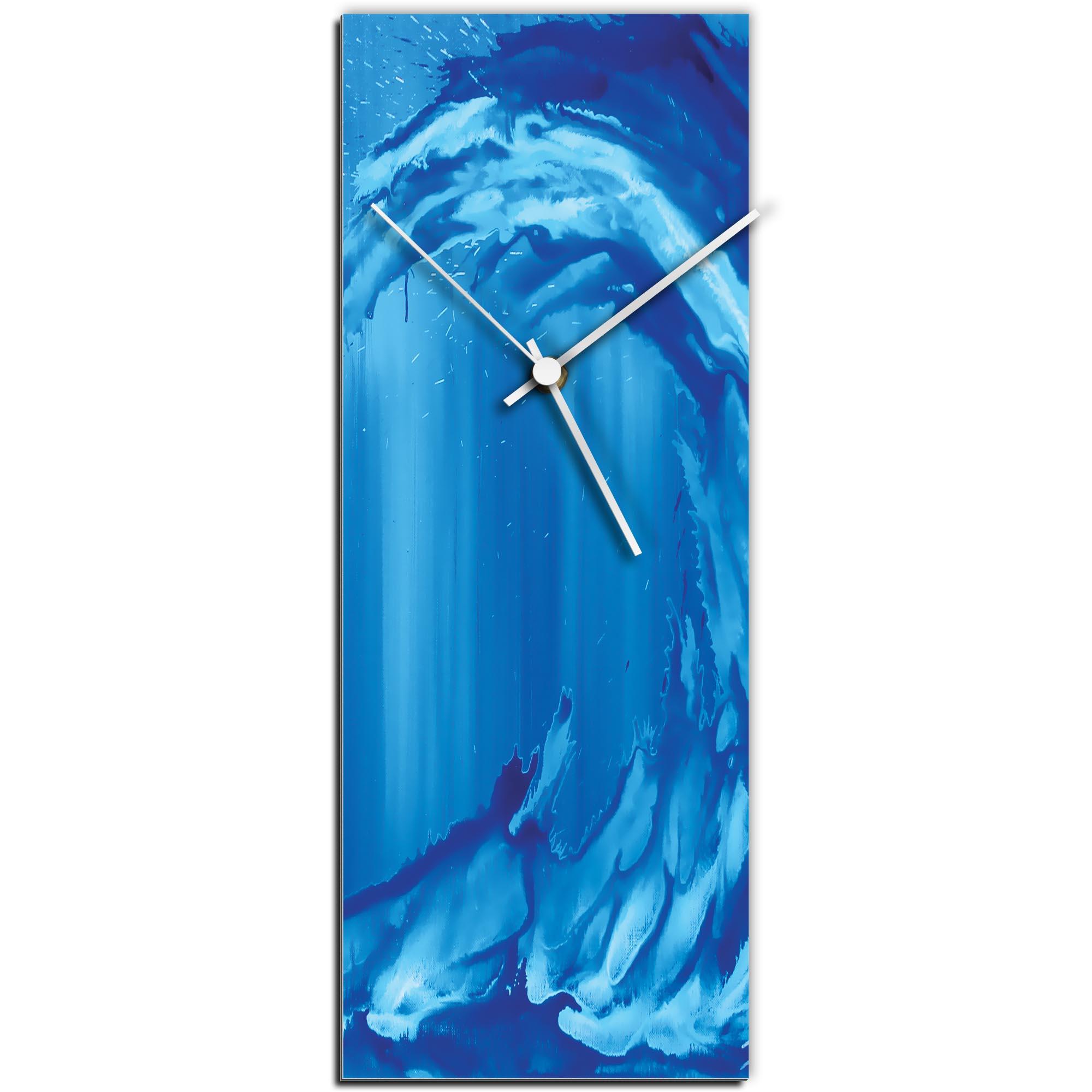 Mendo Vasilevski 'Blue Wave v2 Clock' 6in x 16in Modern Wall Clock on Aluminum Composite