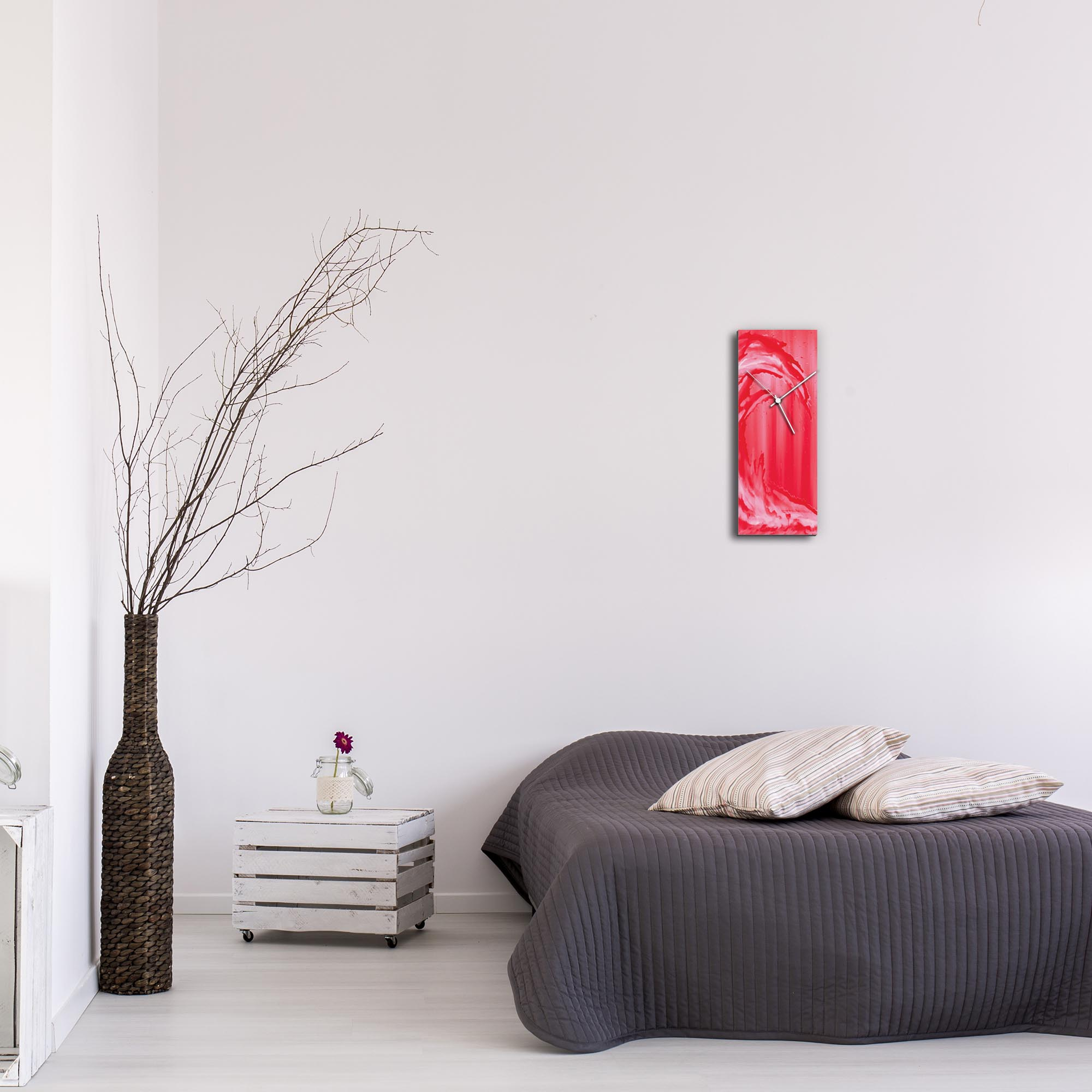 Red Wave v1 Clock by Mendo Vasilevski - Urban Abstract Home Decor - Lifestyle View