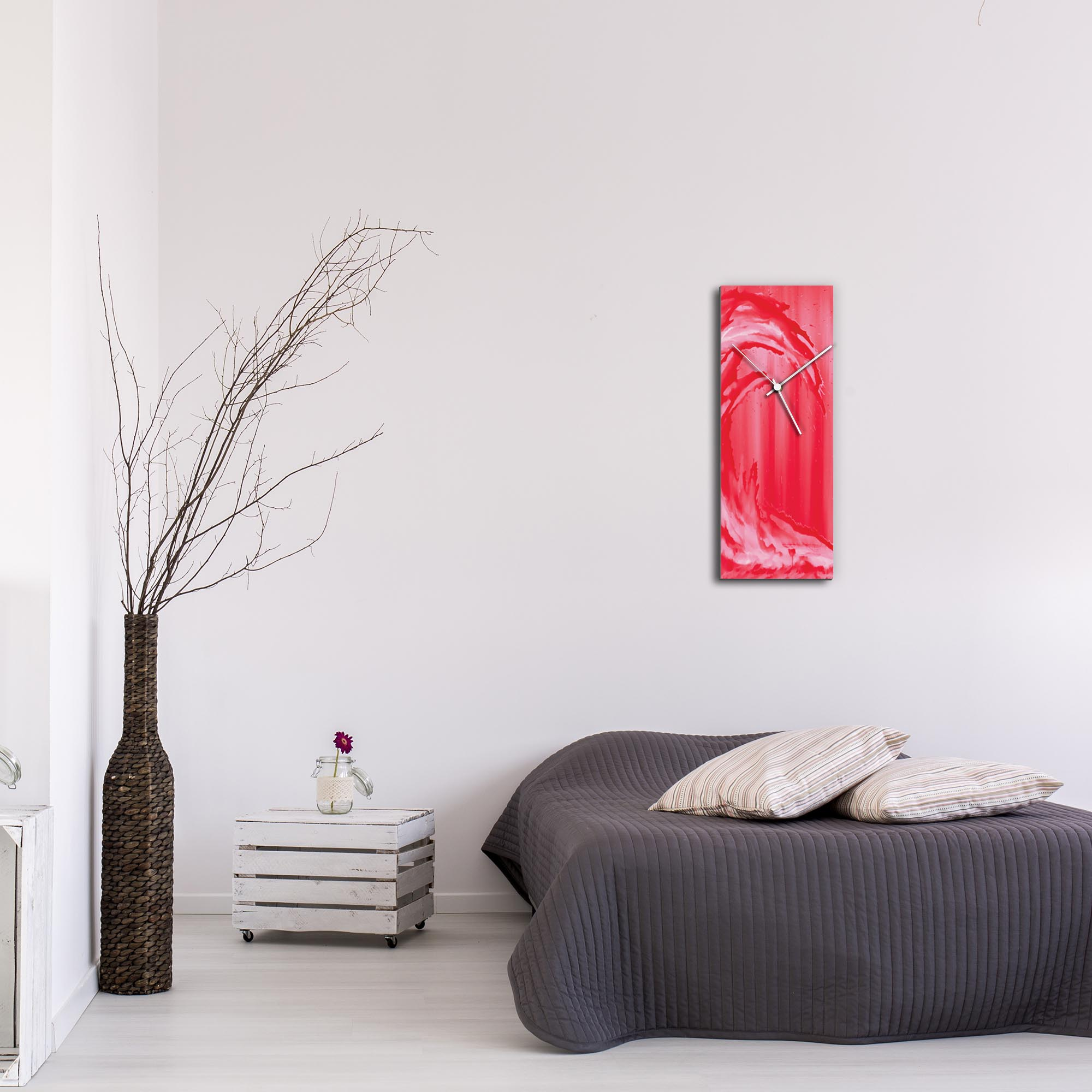 Red Wave v1 Clock Large by Mendo Vasilevski - Urban Abstract Home Decor - Lifestyle View