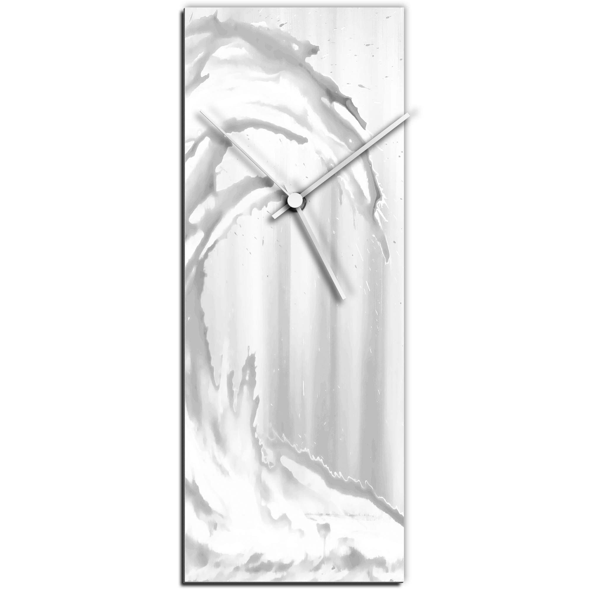 Mendo Vasilevski 'White Wave v1 Clock' 6in x 16in Modern Wall Clock on Aluminum Composite