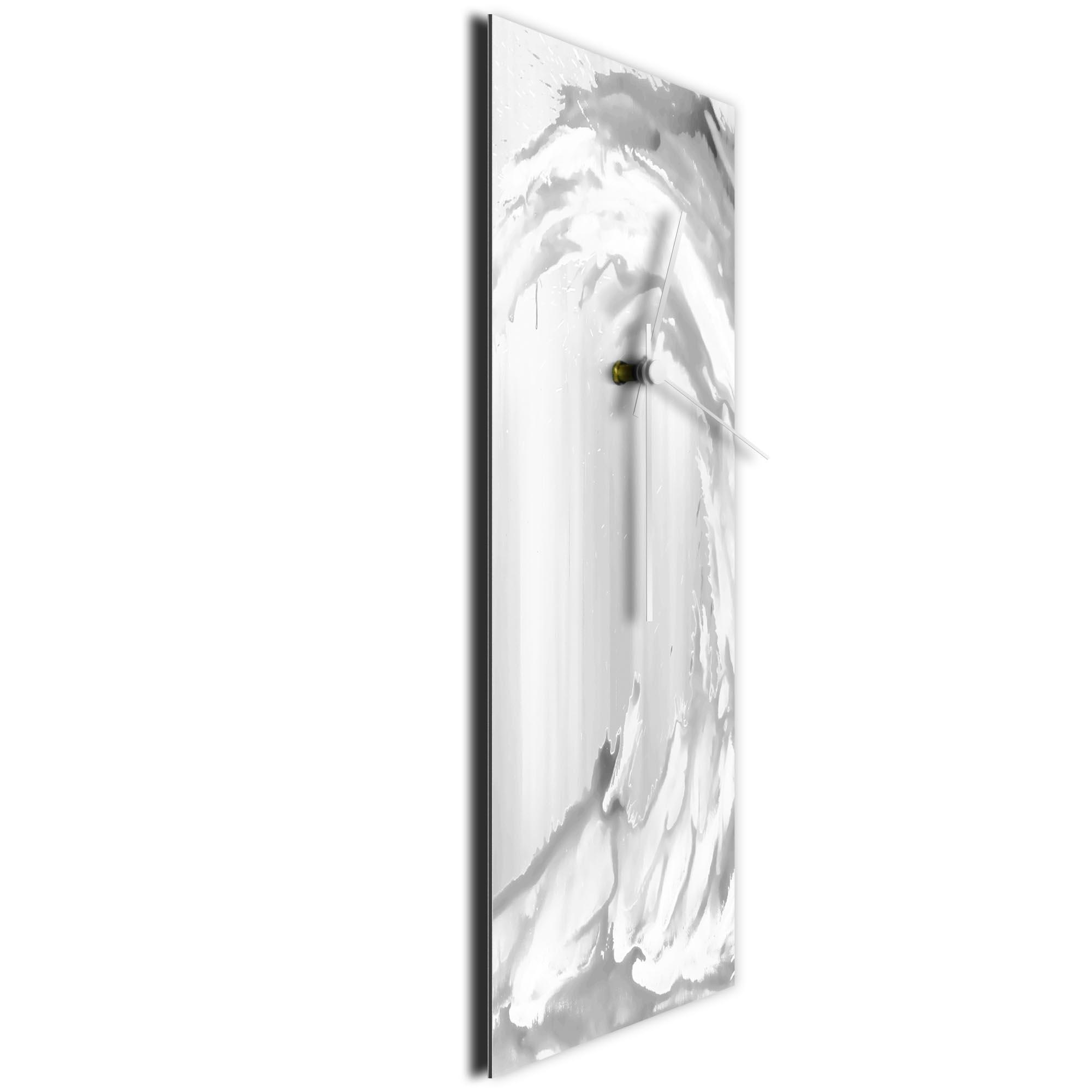 White Wave v2 Clock Large by Mendo Vasilevski - Urban Abstract Home Decor - Image 3