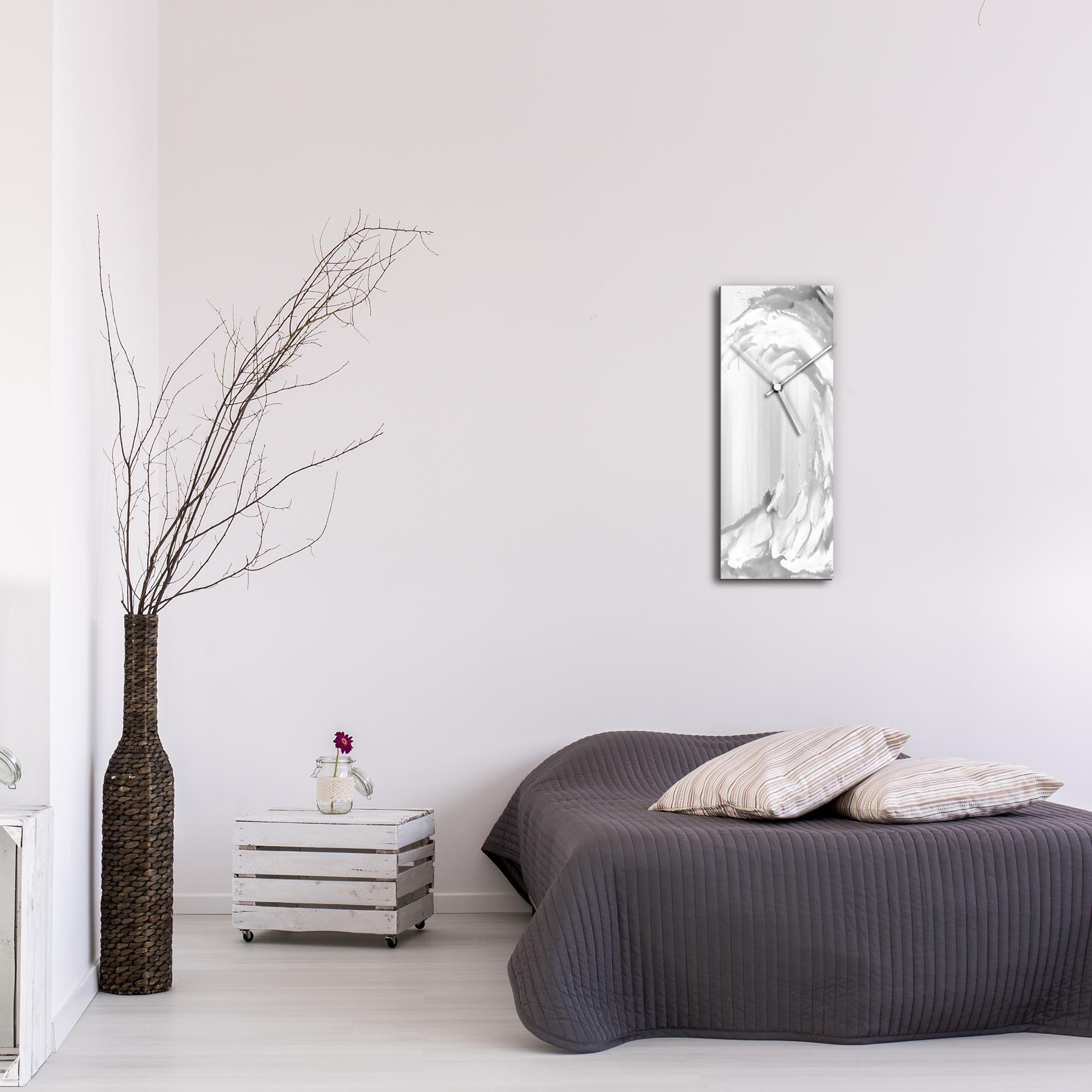 White Wave v2 Clock Large by Mendo Vasilevski - Urban Abstract Home Decor - Lifestyle View