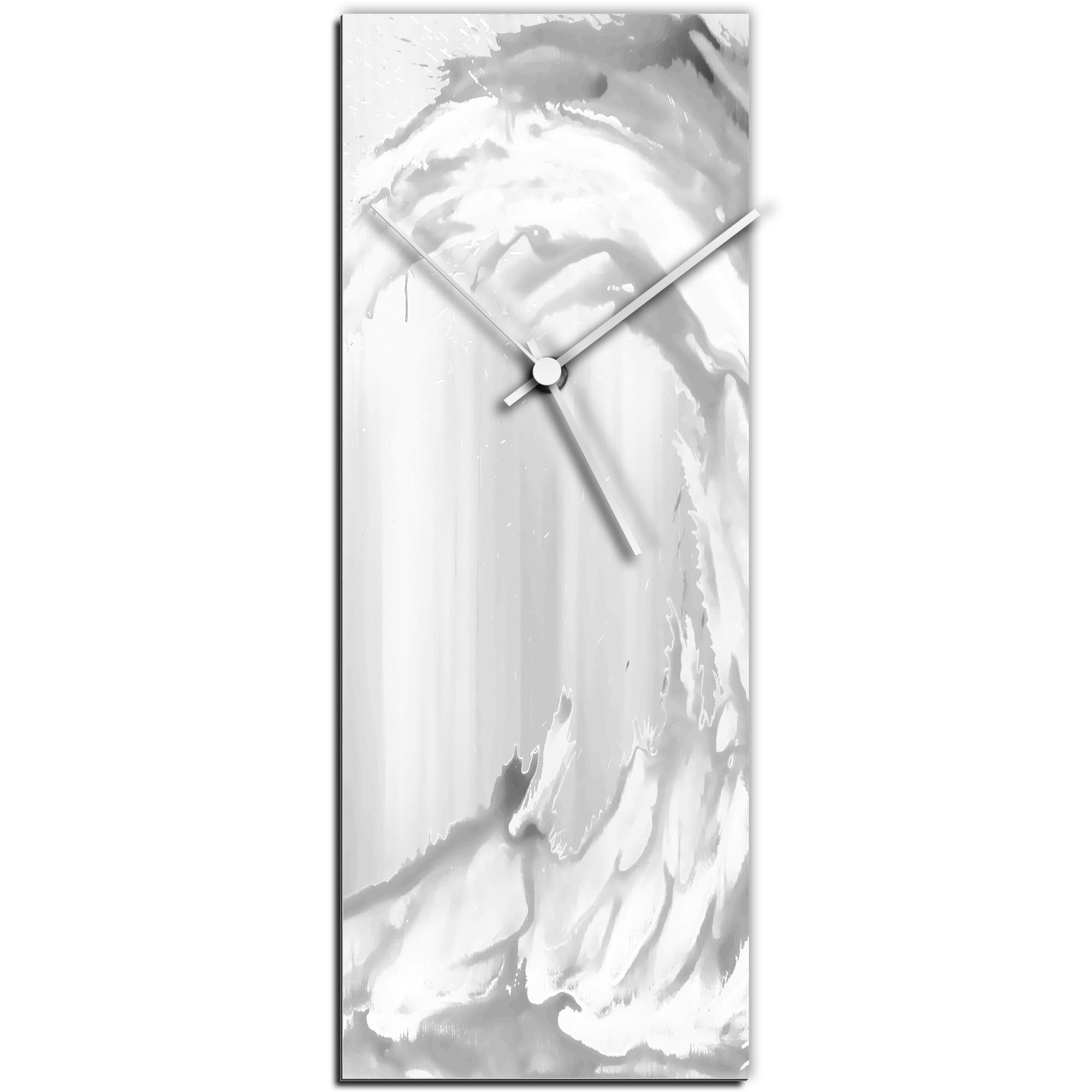 Mendo Vasilevski 'White Wave v2 Clock Large' 9in x 24in Modern Wall Clock on Aluminum Composite