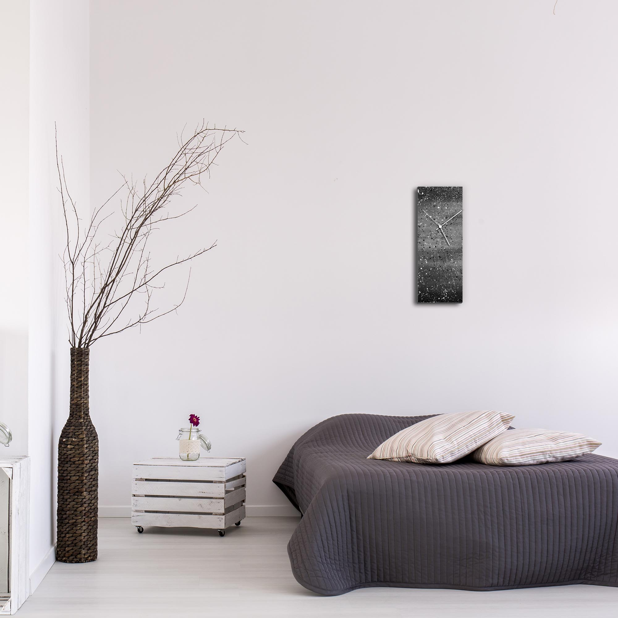 Black Flecked Clock by Mendo Vasilevski - Urban Abstract Home Decor - Lifestyle View