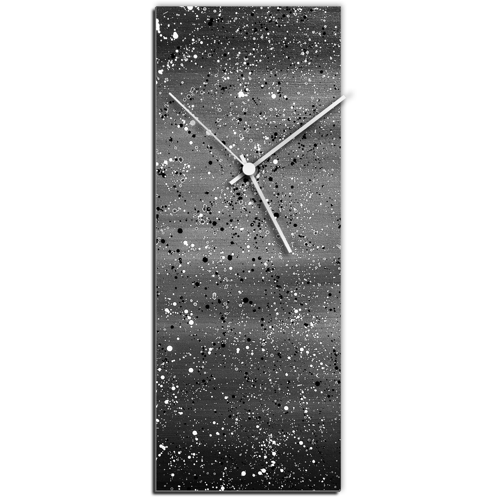 Mendo Vasilevski 'Black Flecked Clock' 6in x 16in Modern Wall Clock on Aluminum Composite