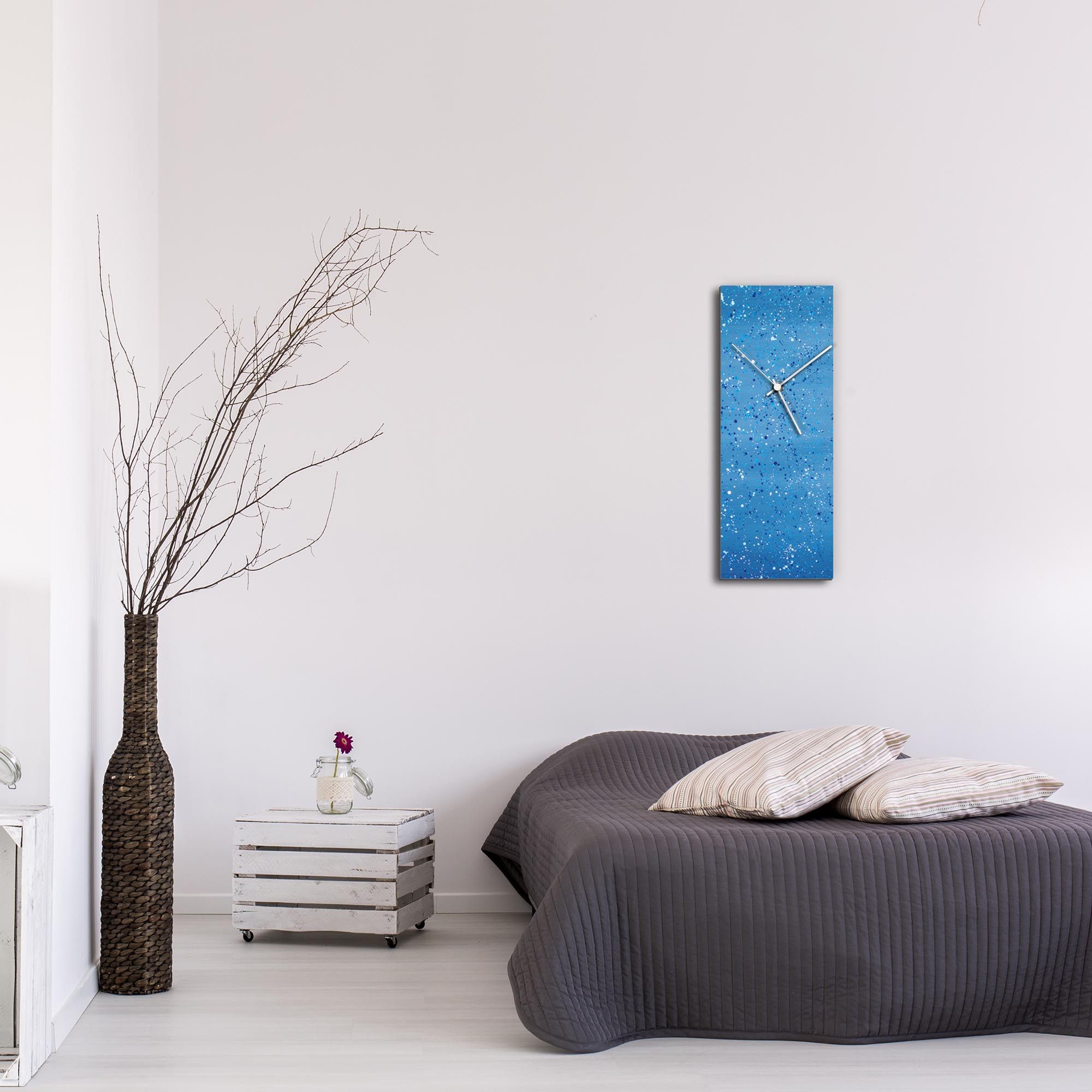 Blue Flecked Clock Large by Mendo Vasilevski - Urban Abstract Home Decor - Lifestyle View